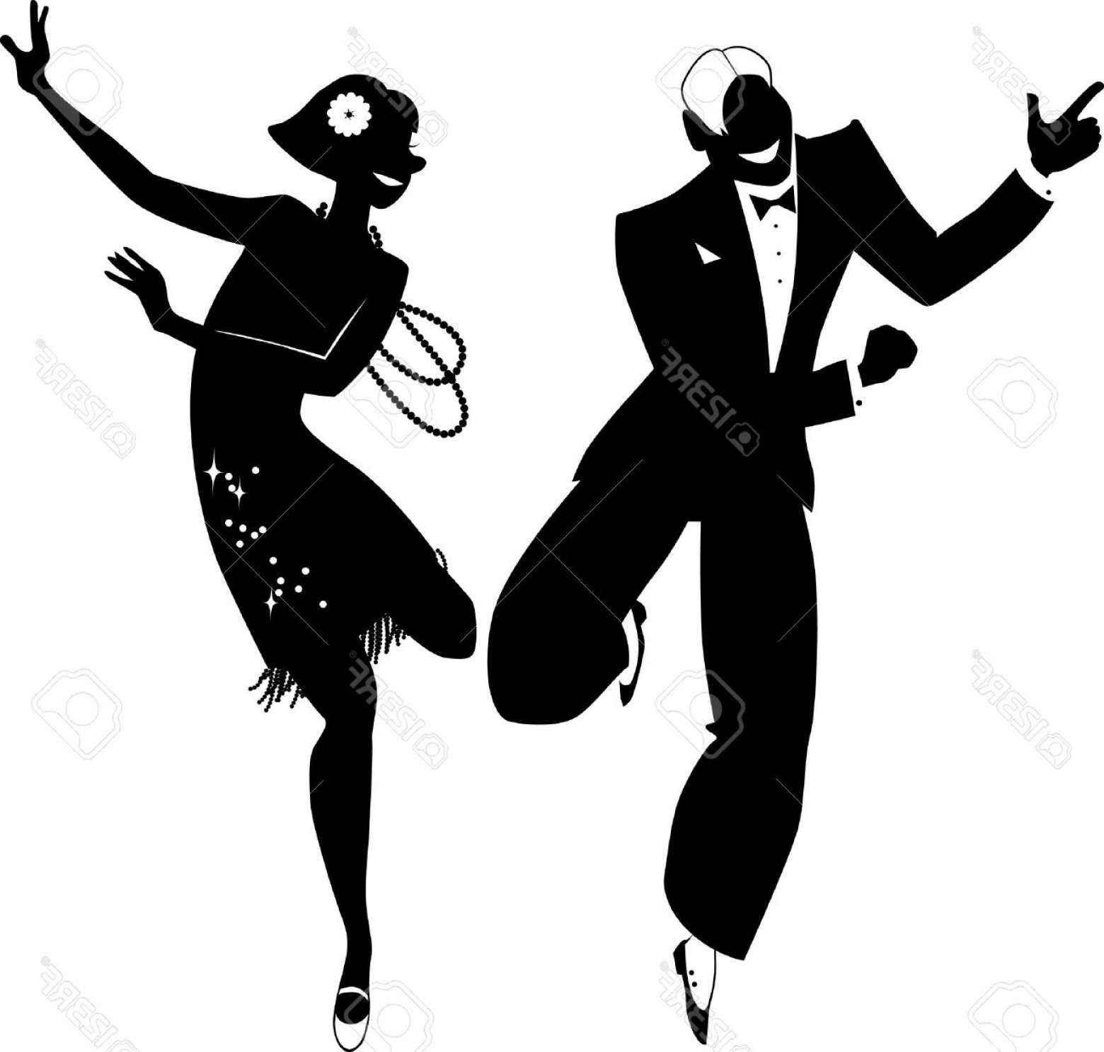 Vector Swing Dancers: Photostock Vector Black Vector Silhouette Of A Couple Dressed In S Fashion Dancing The Charleston No White Objects
