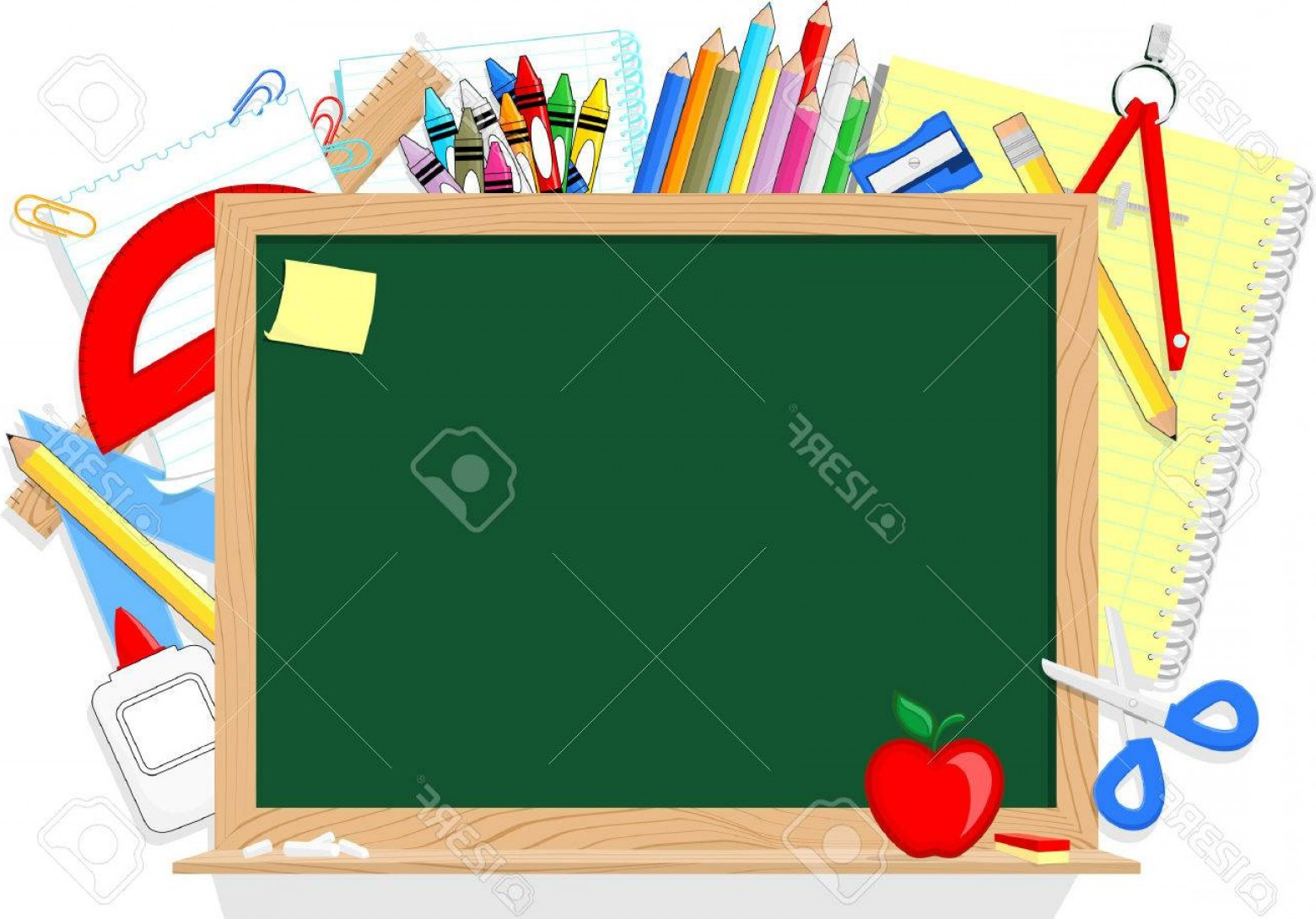 Individual School Supplies Vector: Photostock Vector Blackboard And School Education Supplies Items Isolated On White Background
