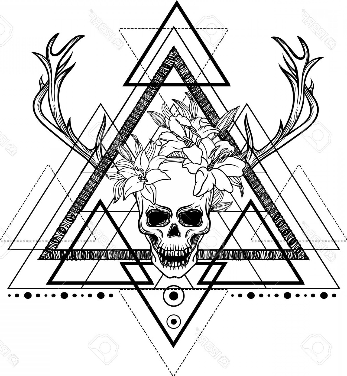Dreamcatcher Tattoo Vector: Photostock Vector Blackwork Tattoo Flash Dreamcatcher With Human Skull Lily Flover And Deer Antlers Tattoo Mystic Symb