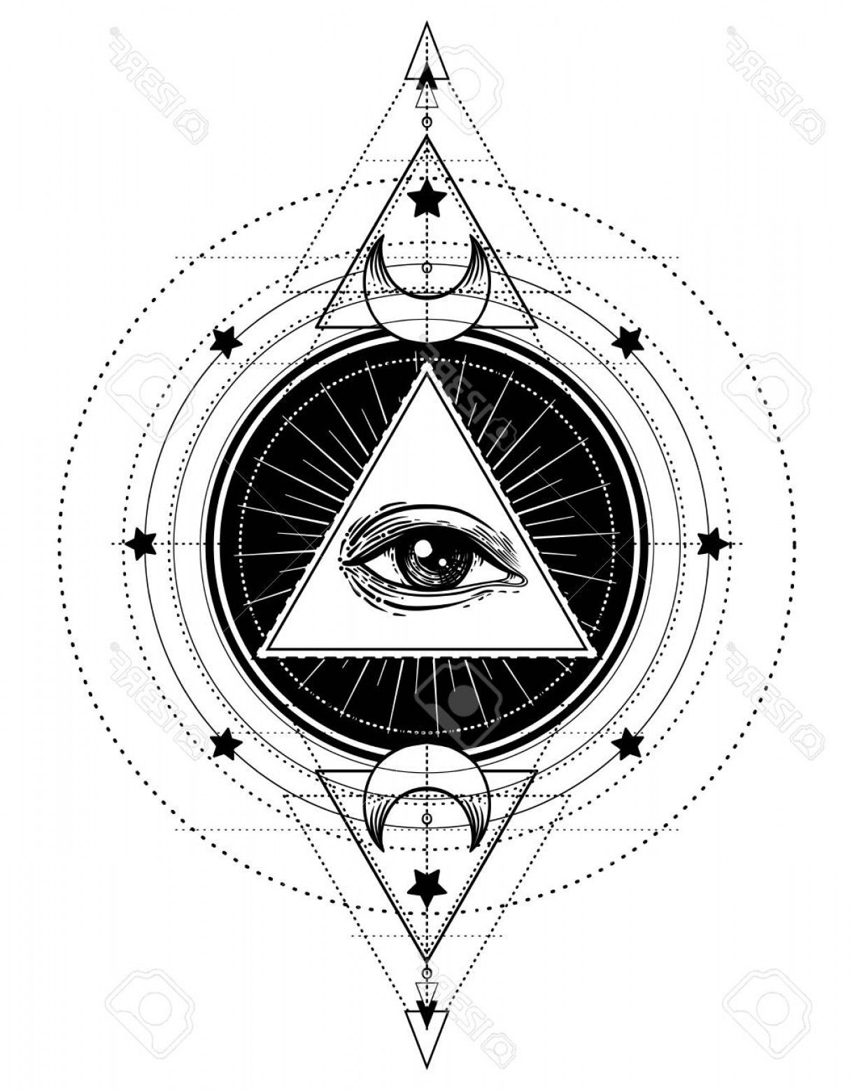 Pyramid With Eye Of Providence Vector: Photostock Vector Blackwork Tattoo Flash Eye Of Providence Masonic Symbol All Seeing Eye Inside Triangle Pyramid New W