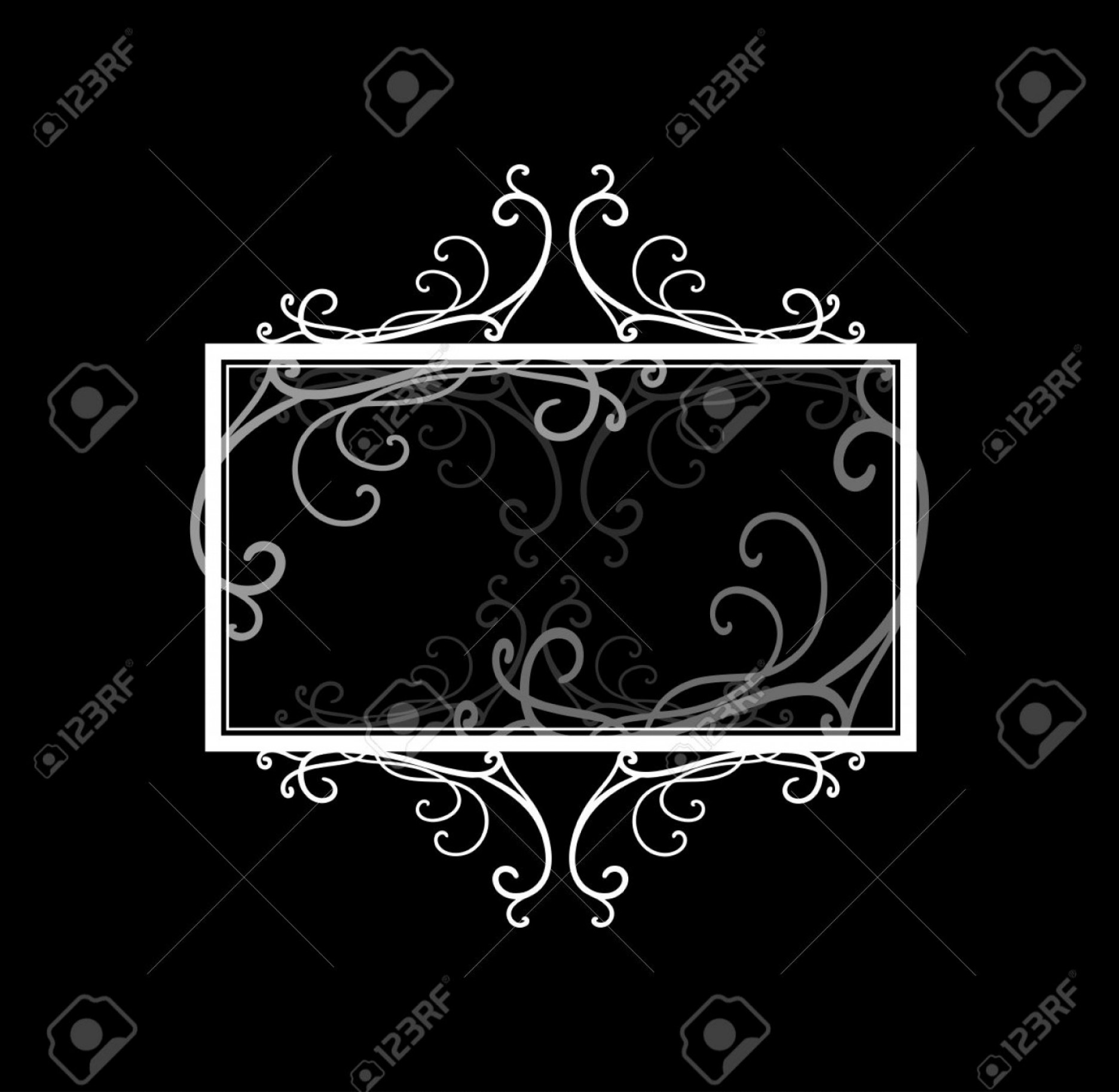 Vector Ornate Vintage Frame Blank: Photostock Vector Blank Black Text Box Or Sign Vector With White Fancy Frame Border Of Elegant Gray Curls And Swirl Vi