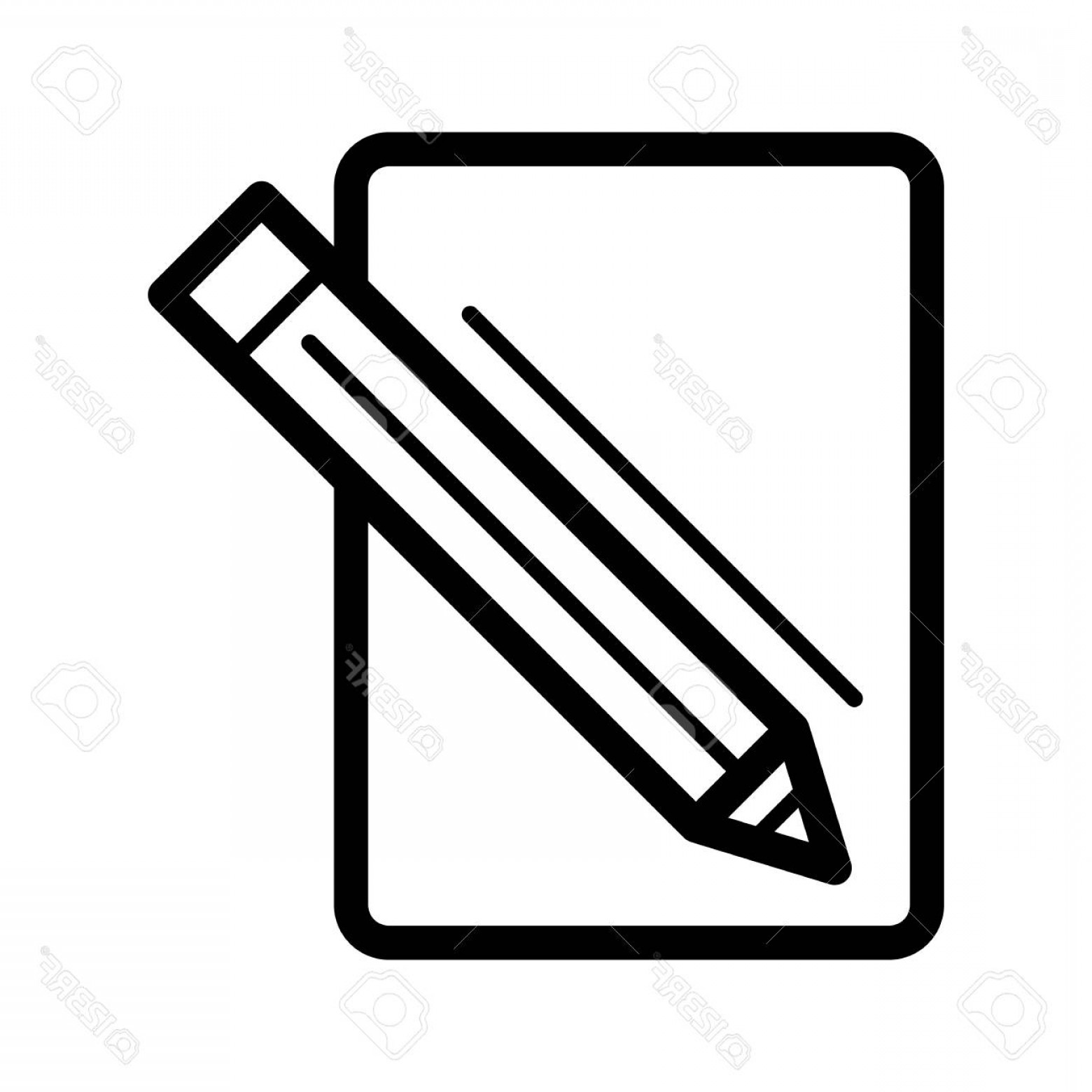 Paper And Pencil Icon Vector: Photostock Vector Blank Paper And A Pencil Vector Icon Black And White Illustration Of Note Pad And Pen Outline Linear