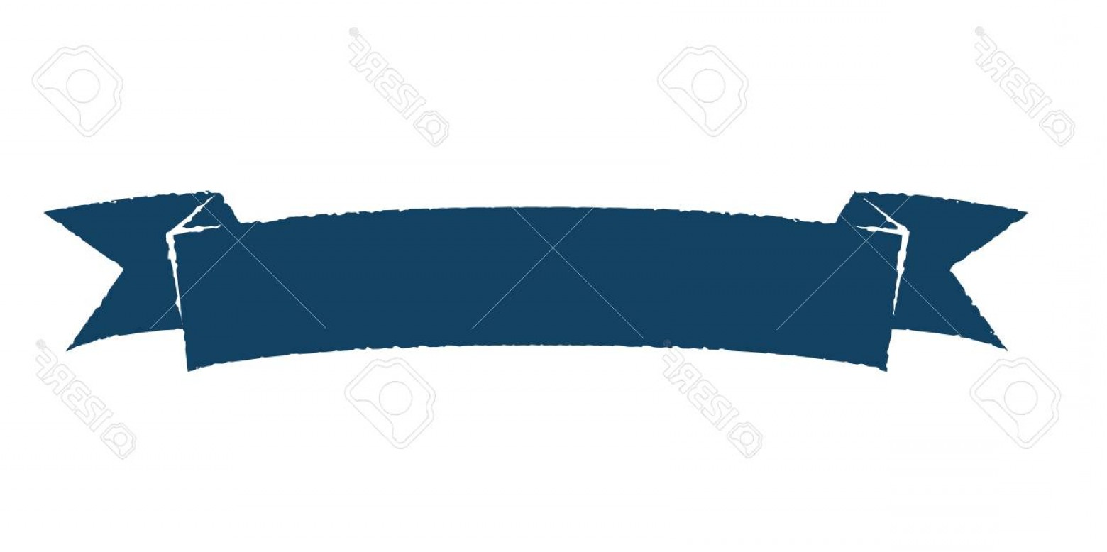 Single Vector Rustic: Photostock Vector Blank Single Vintage Rustic Blue Ribbon Banner Scratched