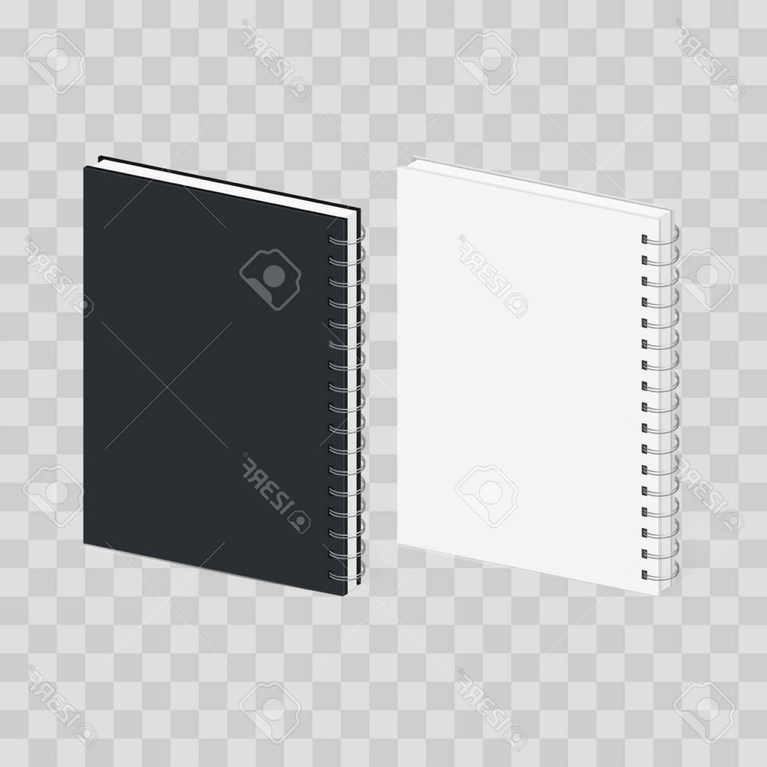 Checker Vector Template: Photostock Vector Blank Spiral Notebook Template Black And White Covers Isometric View Isolated On Transparent Checker