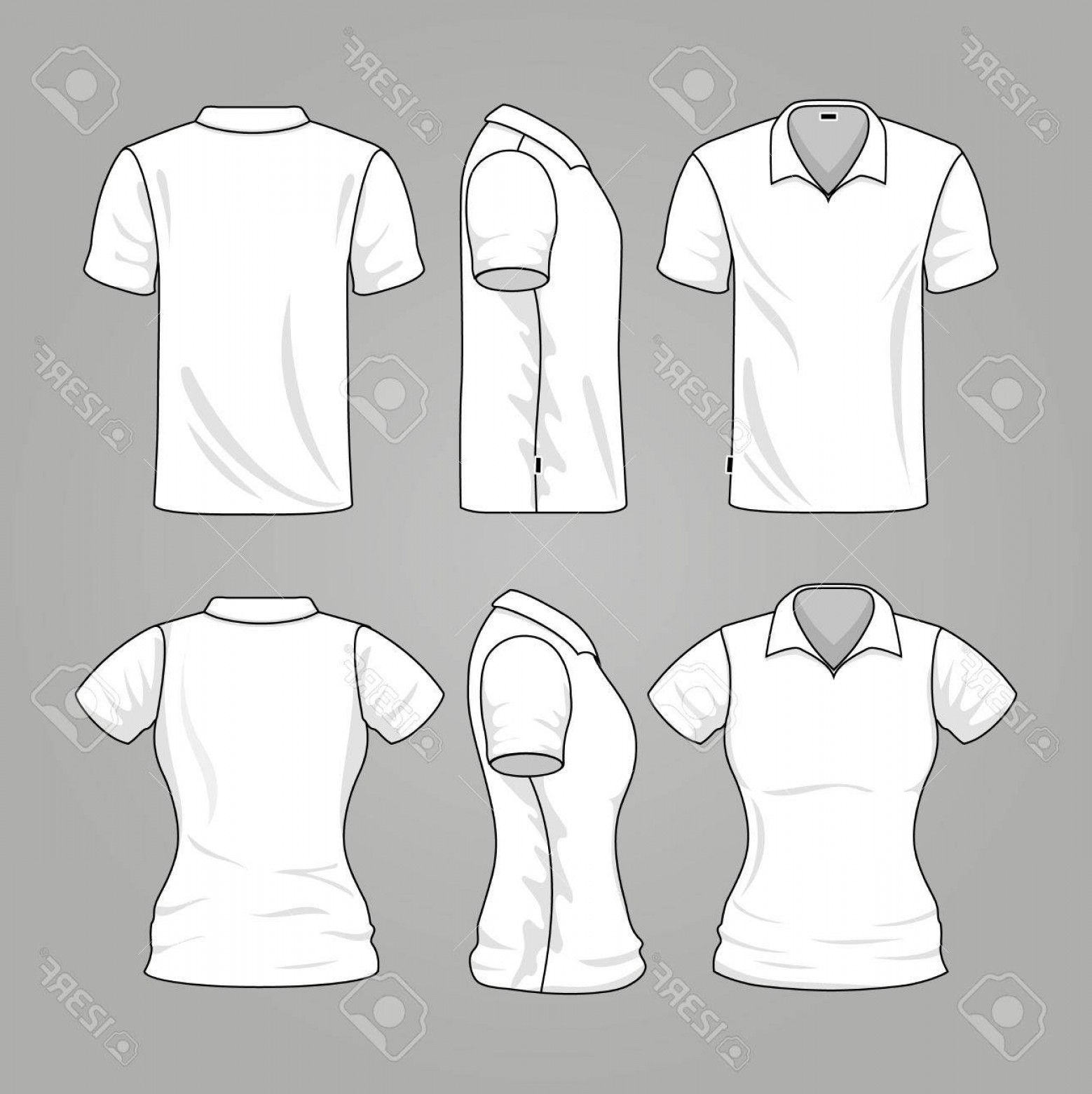 Men's T-Shirt Vector Template: Photostock Vector Blank White Mens And Womens T Shirt Outline Vector Template Of T Shirt For Woman And Man Illustratio