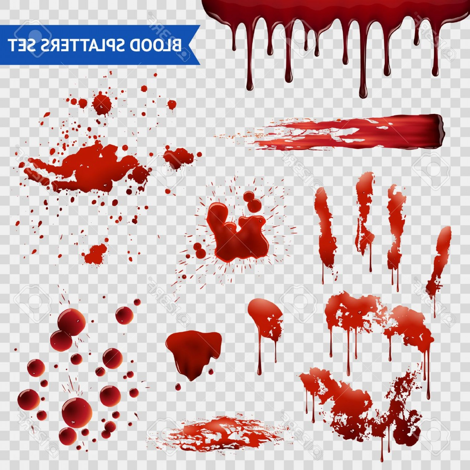 Hand Prints Vector Transparent Background: Photostock Vector Blood Spatters Realistic Bloodstains Patterns Set Of Smears Splashes Drippings Drops And Handprint W