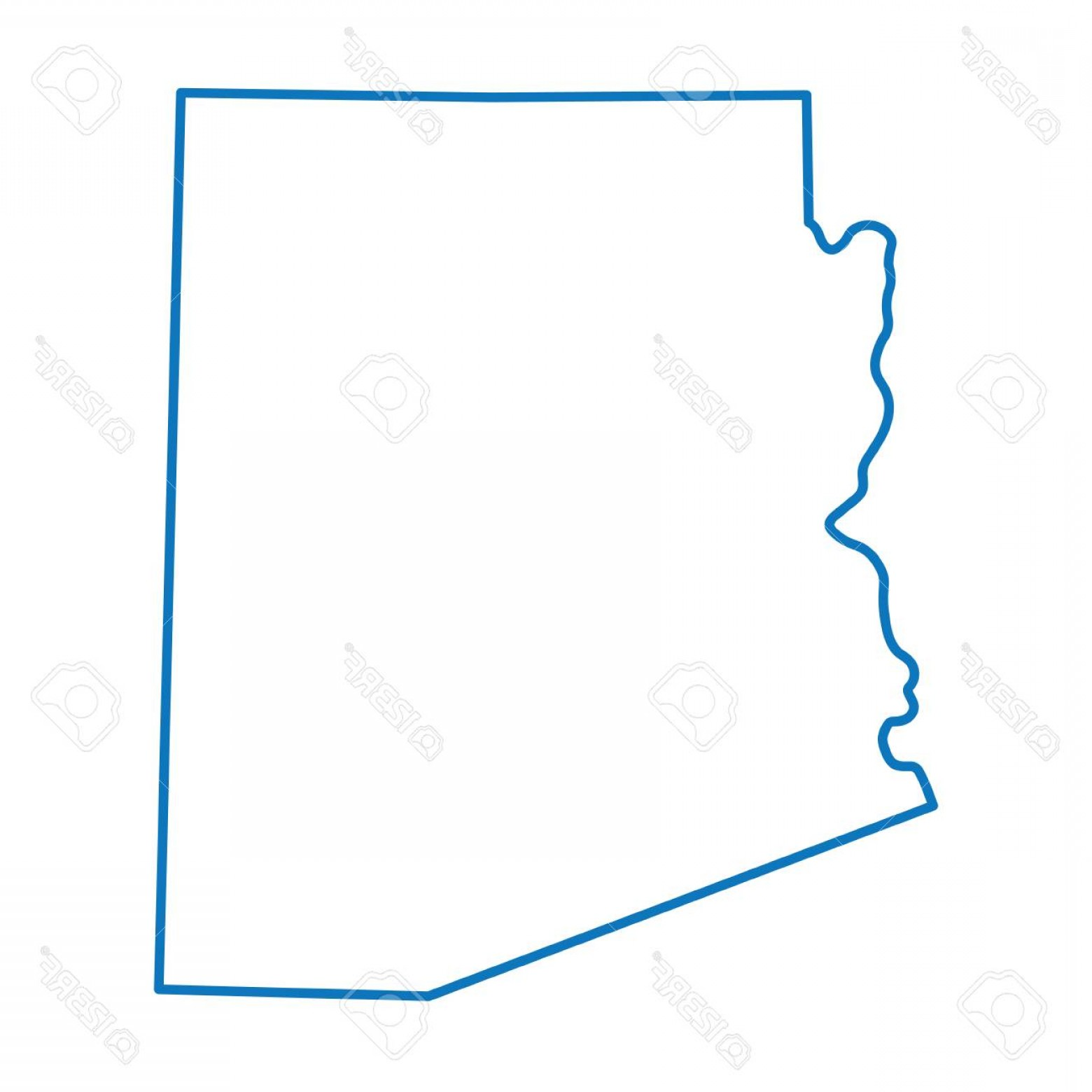Arizona State Outline Vector: Photostock Vector Blue Abstract Outline Map Of Arizona