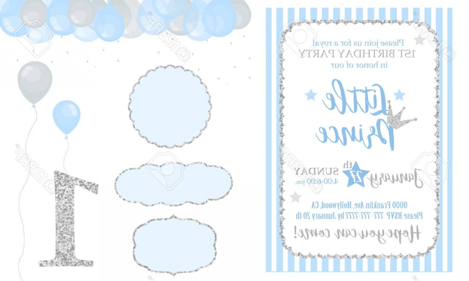 Silver Prince Vector: Photostock Vector Blue And Silver Prince Party Decor Cute Happy Birthday Card Template Elements Birthday Party And Bab