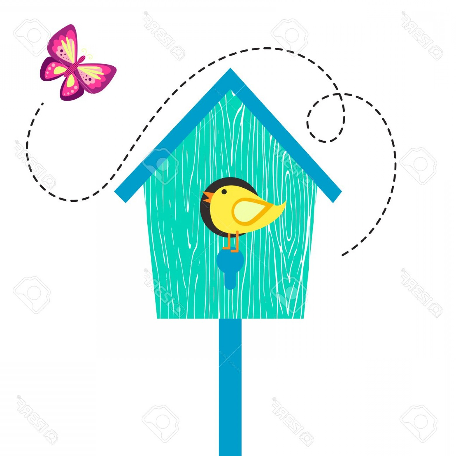 Vector Bird House: Photostock Vector Blue Cartoon Bird House With Birdie On Perch And Butterfly Birdhouse Isolated On White Cute Vector I