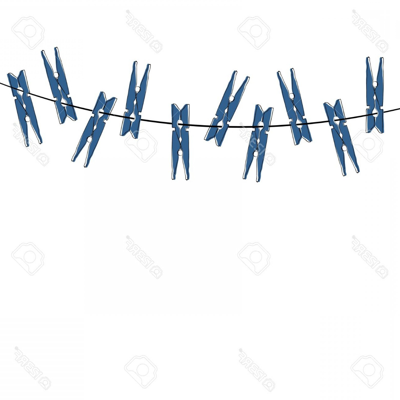 Vector Clothes Pins: Photostock Vector Blue Cartoon Clothespins On The White Background