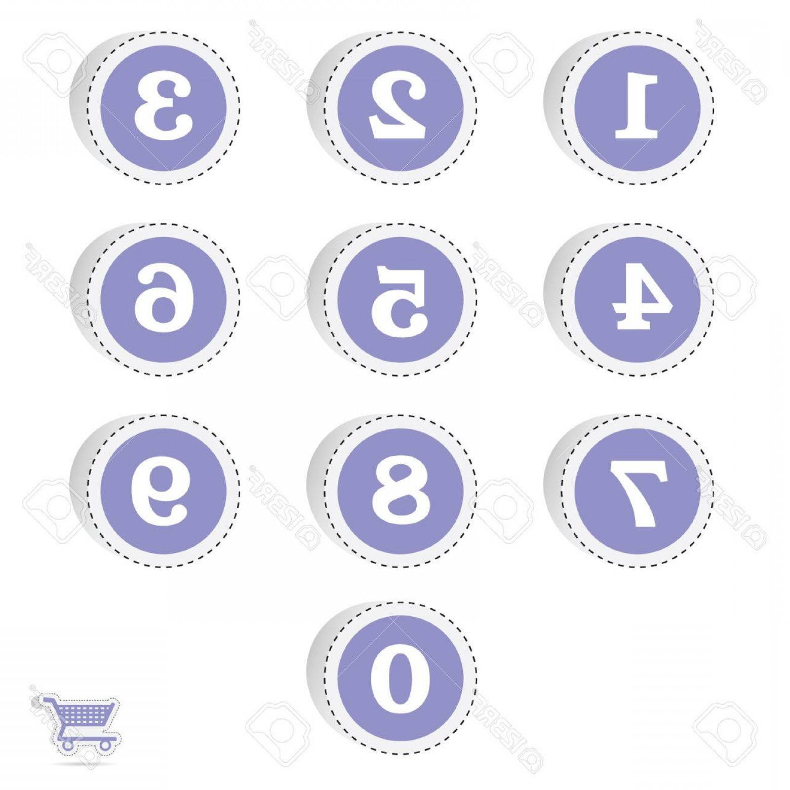 Numbered Tab Vectors In Blue: Photostock Vector Blue Circle Sticker With Numbers Illustration On White
