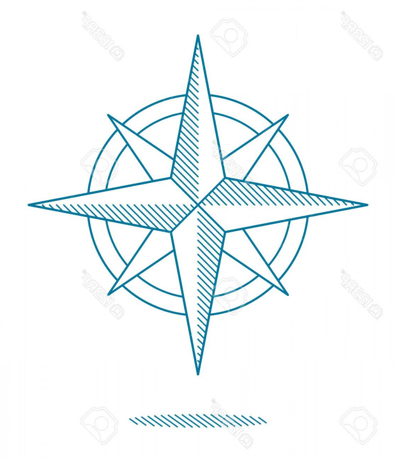 4 Point Nautical Star Vector: Photostock Vector Blue Compass Rose Icon With Hatching For Nautical Themed Designs Line Drawing On White