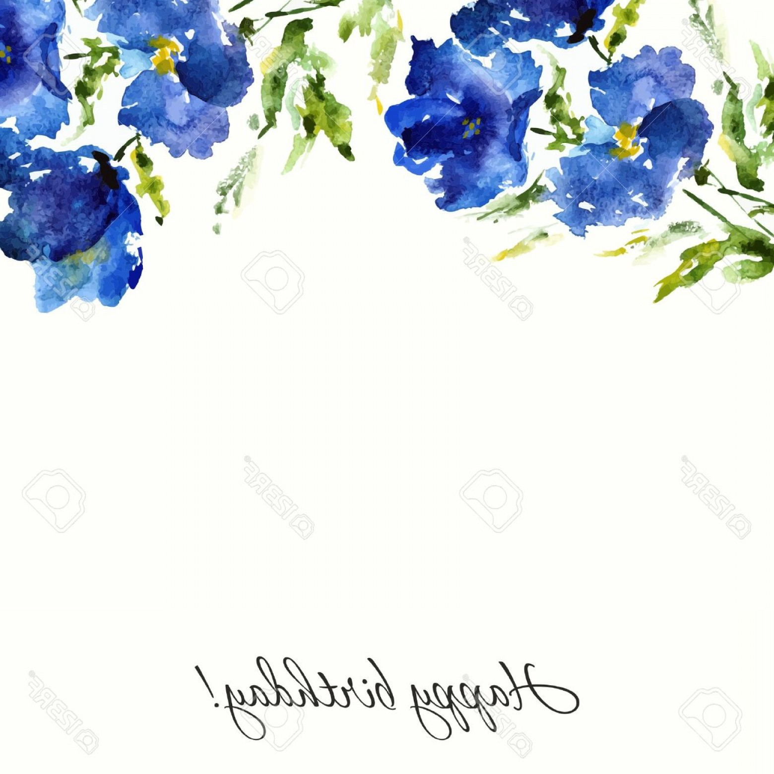 Watercolor Floral Background Vector: Photostock Vector Blue Floral Background Watercolor Flowers Birthday Or Wedding Design