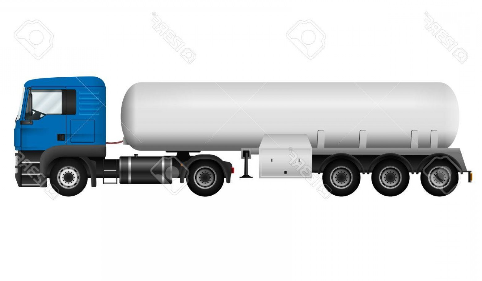 Vector Semi Tanker: Photostock Vector Blue Lorry With White Cistern Isolated Tanker Truck On White Background Side View Cargo Vehicle Temp
