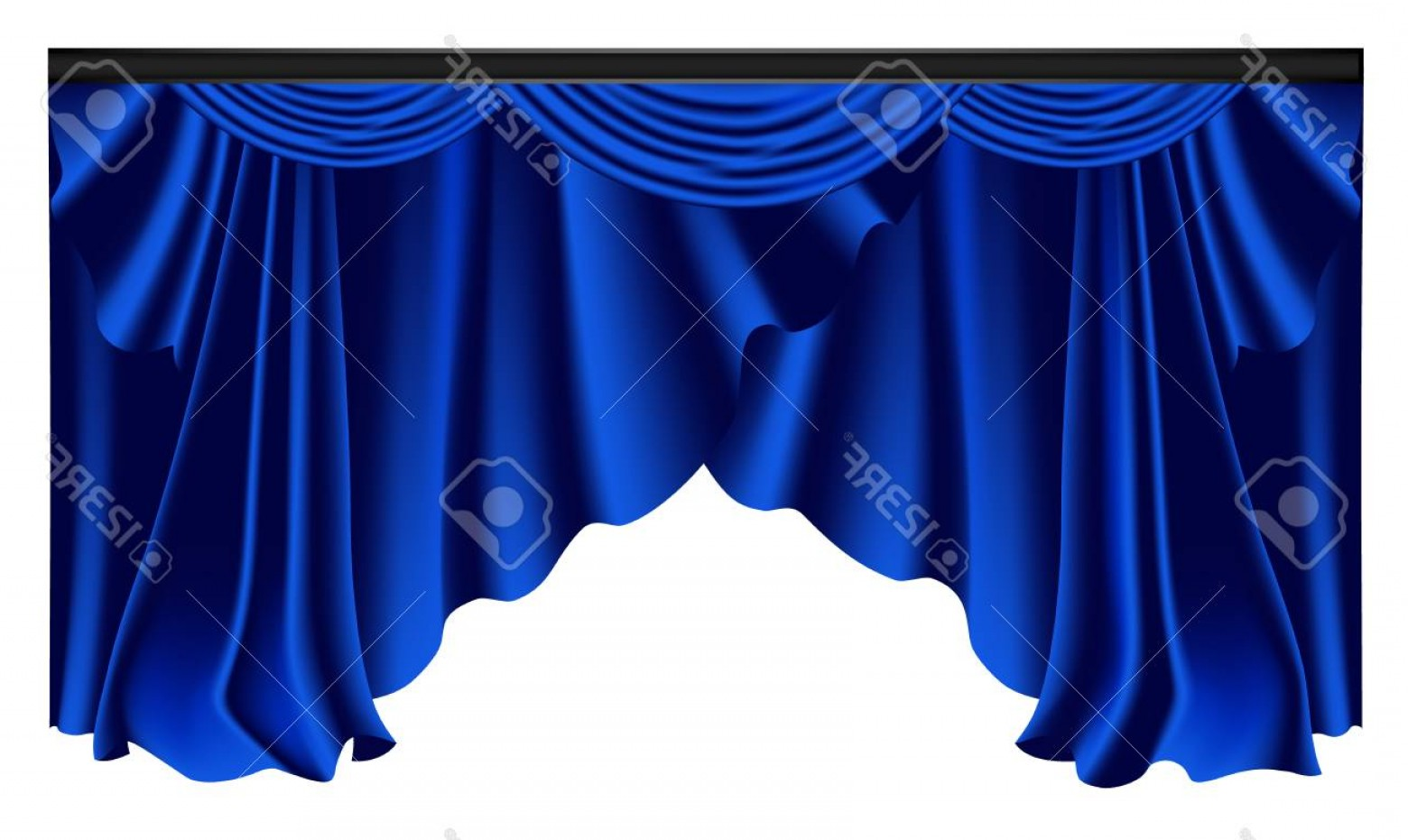 Vector Blue Luxury: Photostock Vector Blue Luxury Curtains And Draperies On White Background Realistic Vector Illustration