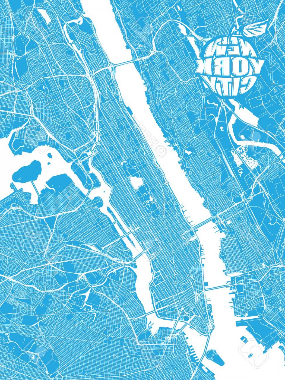 Midtown East Map Vector: Photostock Vector Blue Map Of New York City With Apple Logo Very Detailled Version With Bridges And Without Names Nyc