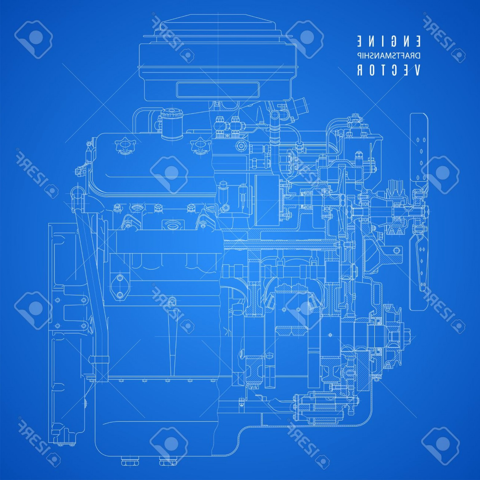 Photostock vector blueprint engine project technical drawing on the blue print vectors photostock vector blueprint engine project technical drawing on the blue background malvernweather Gallery