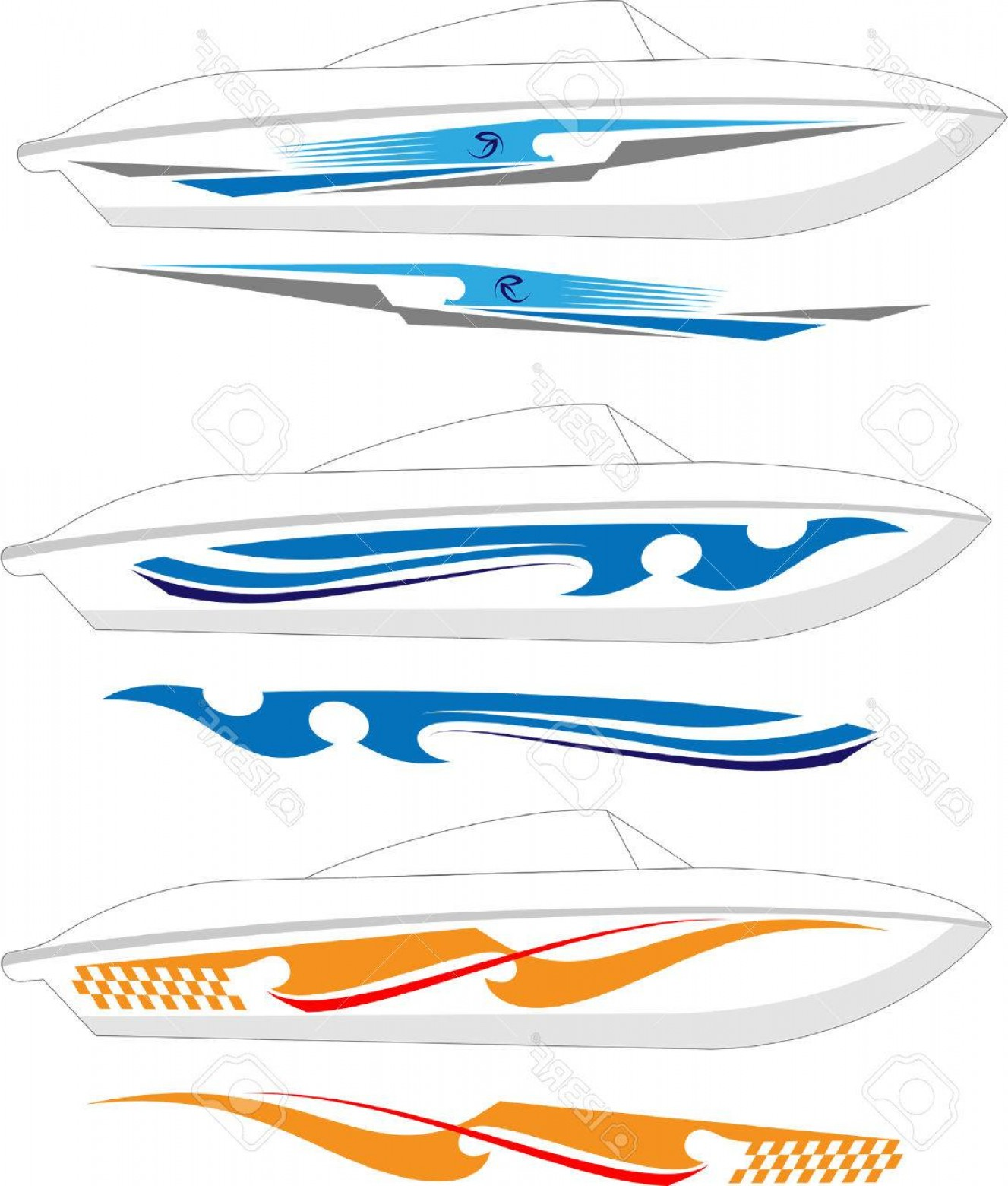 Boat Vector Art Graphics: Photostock Vector Boat Graphics Stripe Vinyl Ready Vector Art