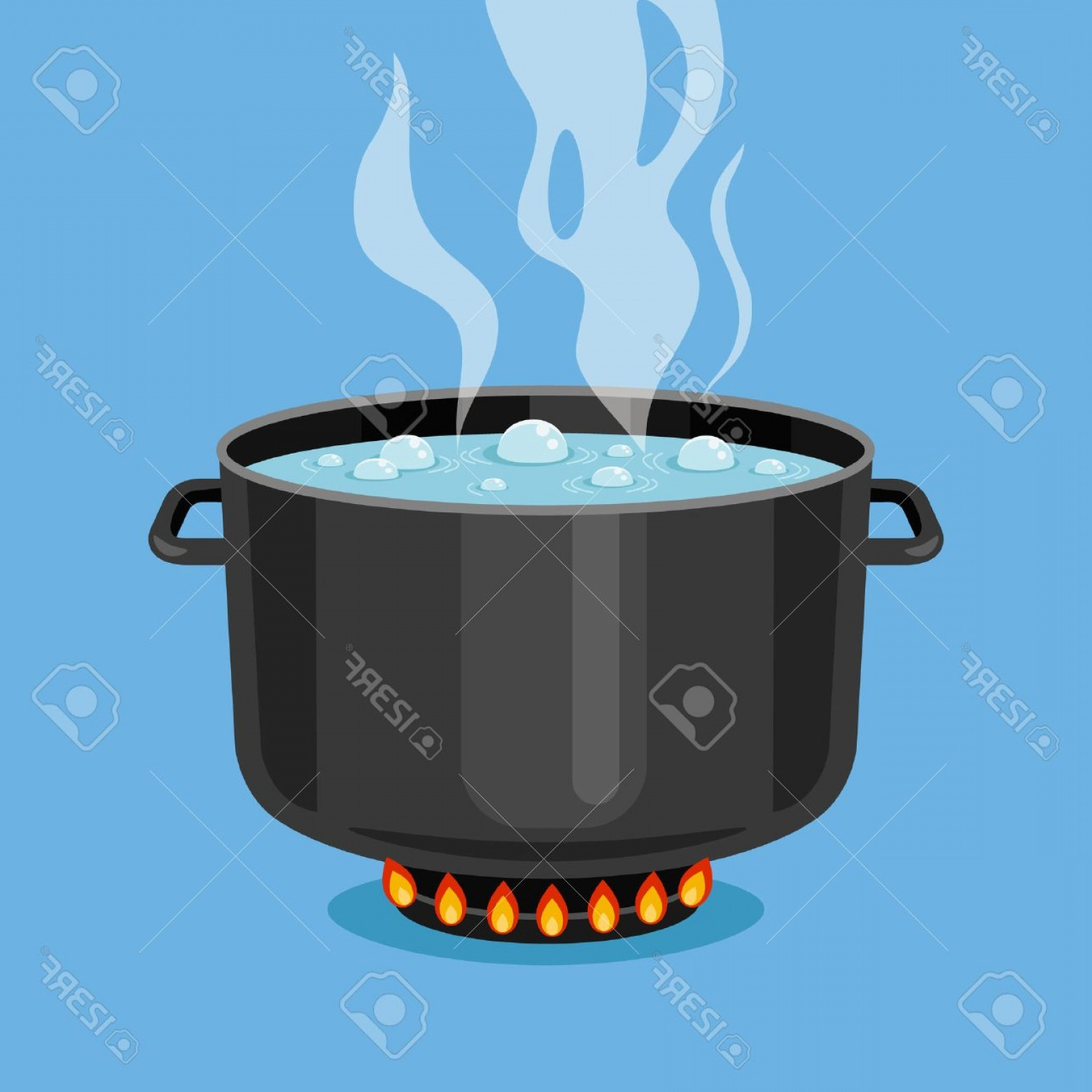 Big Cook With Cooking Pot Vector: Photostock Vector Boiling Water In Pan Black Cooking Pot On Stove With Water And Steam Flat Design Graphics Elements V