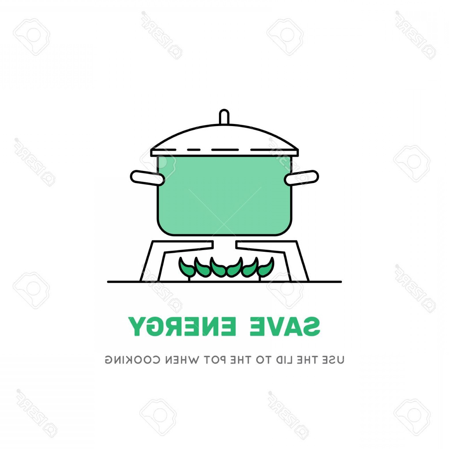 Big Cook With Cooking Pot Vector: Photostock Vector Boiling Water In Pan Green Cooking Pot On Stove Flat Line Design Graphics Elements Vector Illustrati
