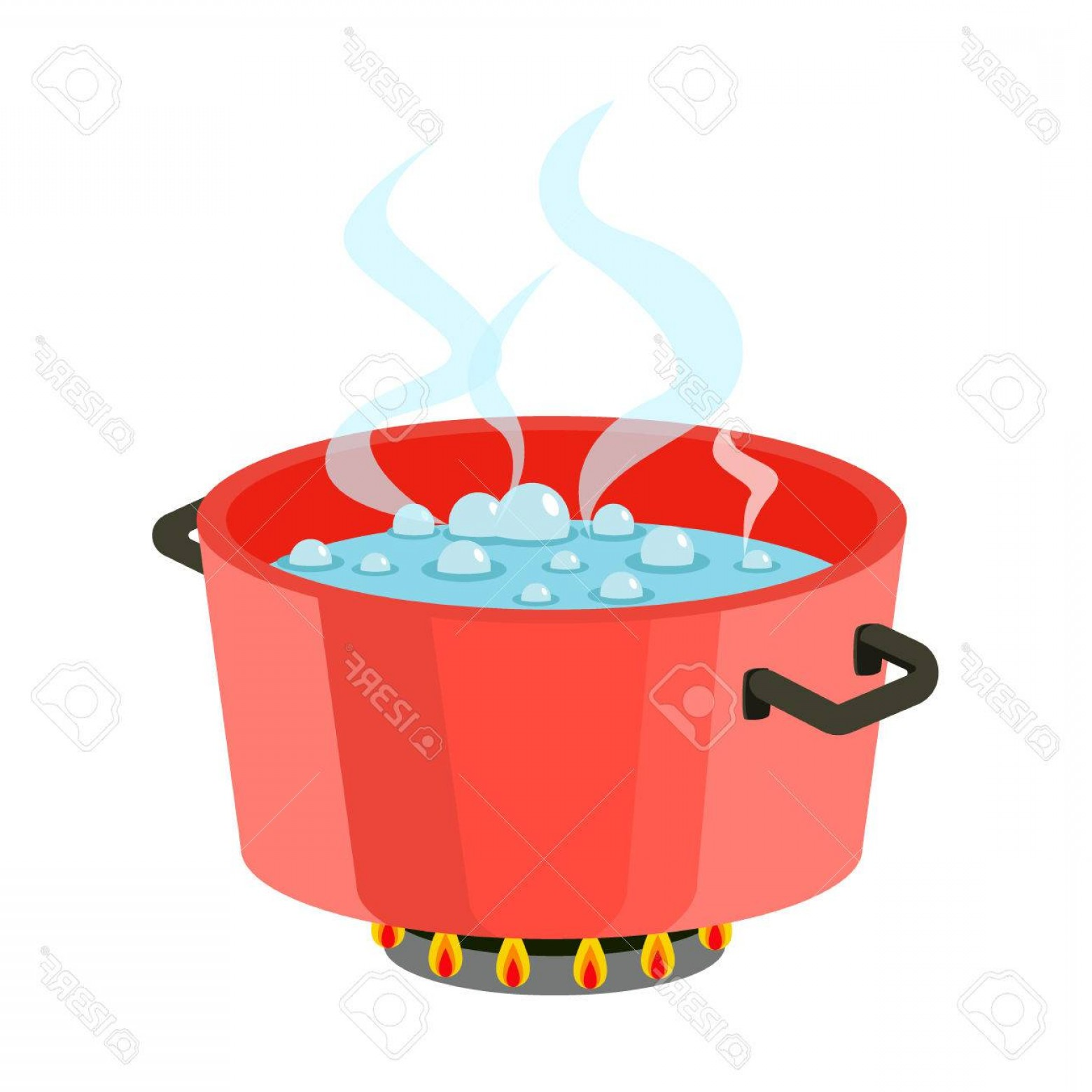 Big Cook With Cooking Pot Vector: Photostock Vector Boiling Water In Pan Red Cooking Pot On Stove With Water And Steam Flat Design Vector