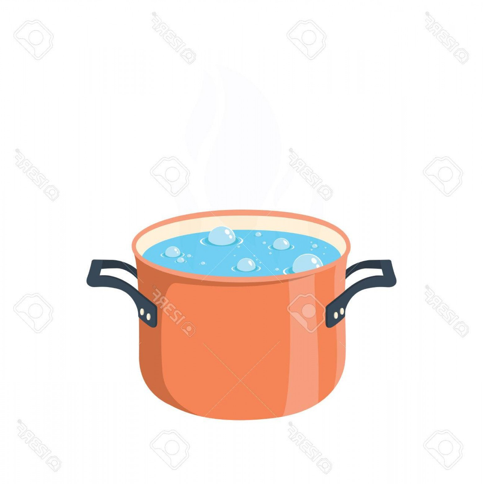 Big Cook With Cooking Pot Vector: Photostock Vector Boiling Water In Pan Red Cooking Pot On Stove With Water And Steam