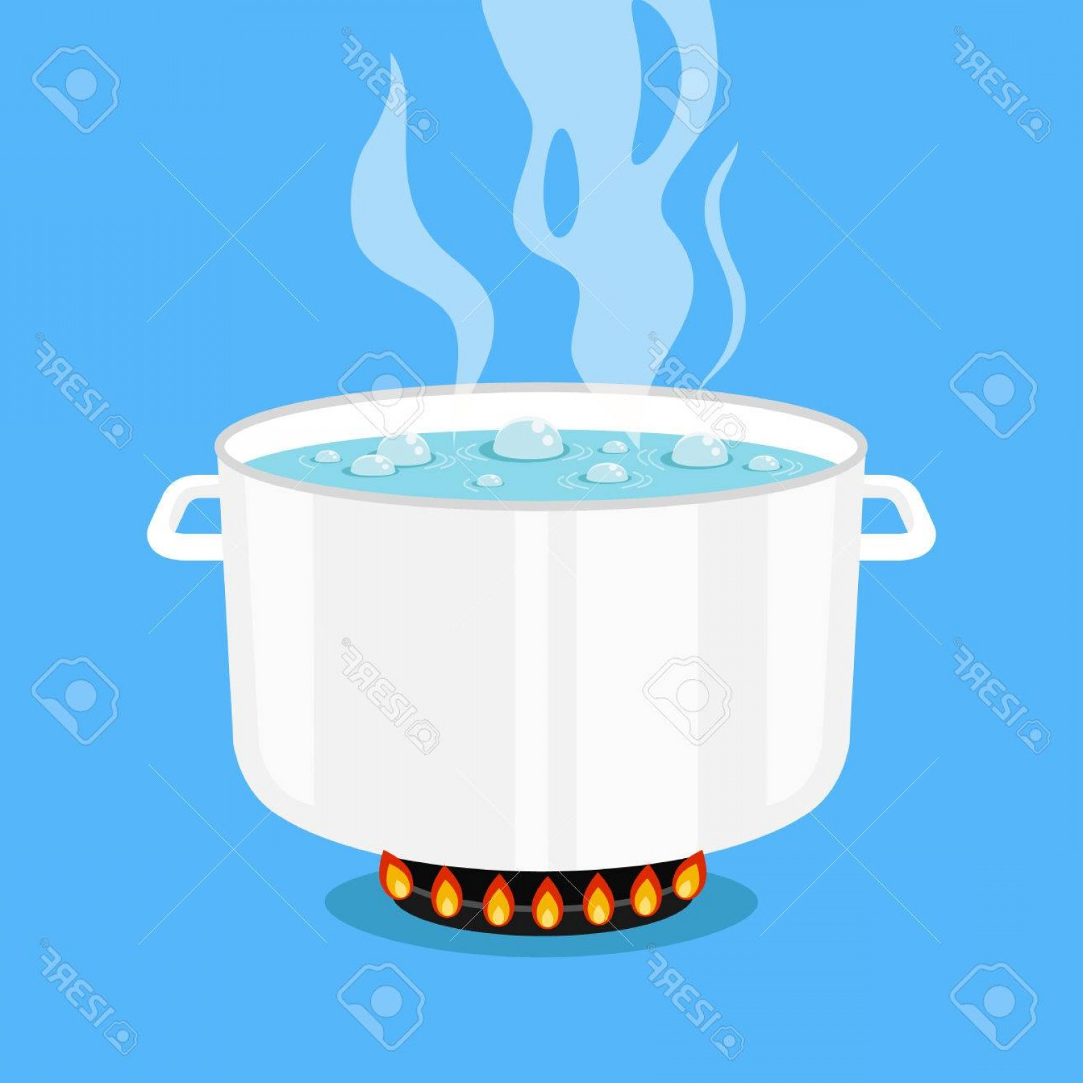 Big Cook With Cooking Pot Vector: Photostock Vector Boiling Water In Pan White Cooking Pot On Stove With Water And Steam Flat Design Graphic Elements Ve