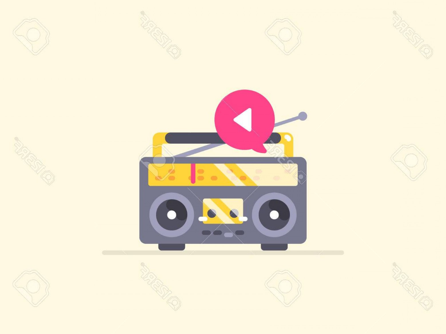 Music Vector Content: Photostock Vector Boombox Stereo Icon Icon For Music Playback Podcast And Other Audio Content Content