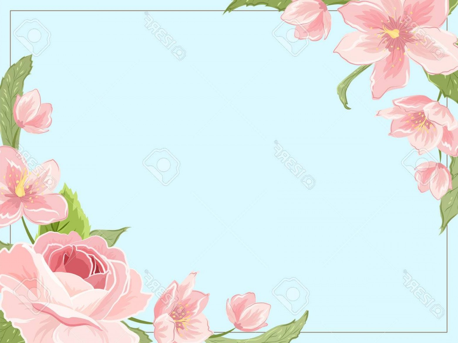 Blue Vector Border Frame: Photostock Vector Border Frame Template Corners Decorated With Pink Rose Magnolia Sakura Hellebore Flowers On Blue Bac