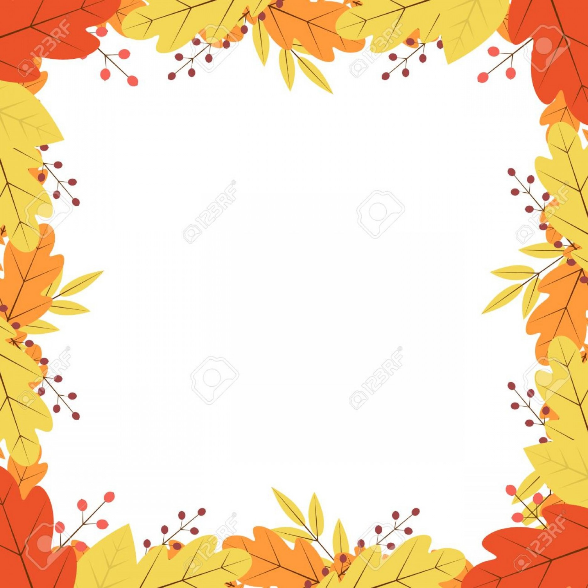 Thanksgiving Border Vector: Photostock Vector Border Of Colorful Autumn Leaves And Berries Fall Theme Vector Illustration Thanksgiving Day Greetin