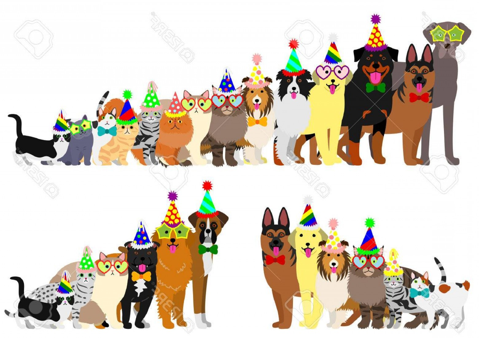 Double Boxer Dog Vector: Photostock Vector Border Of Dogs And Cats Arranged In Order Of Height