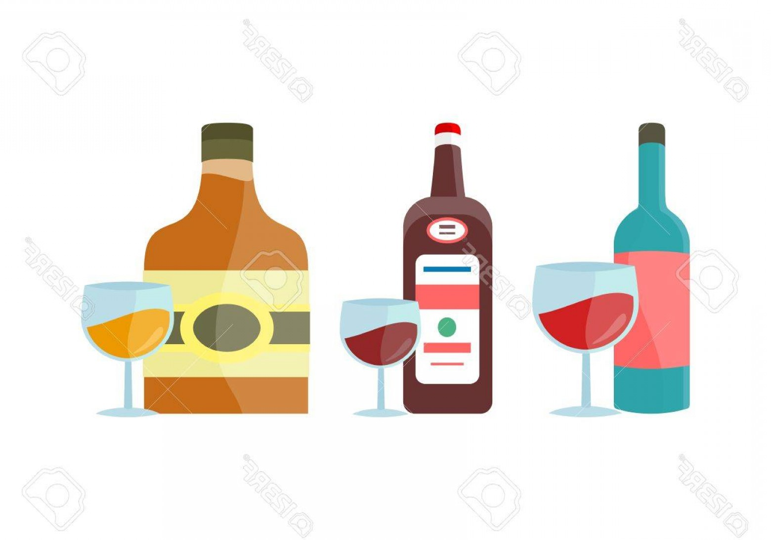 Alcohol Vector: Photostock Vector Bottles And Goblet With Alcohol Vector In Flat Style Whiskey Liquor Wine Cognac Illustration For Bev