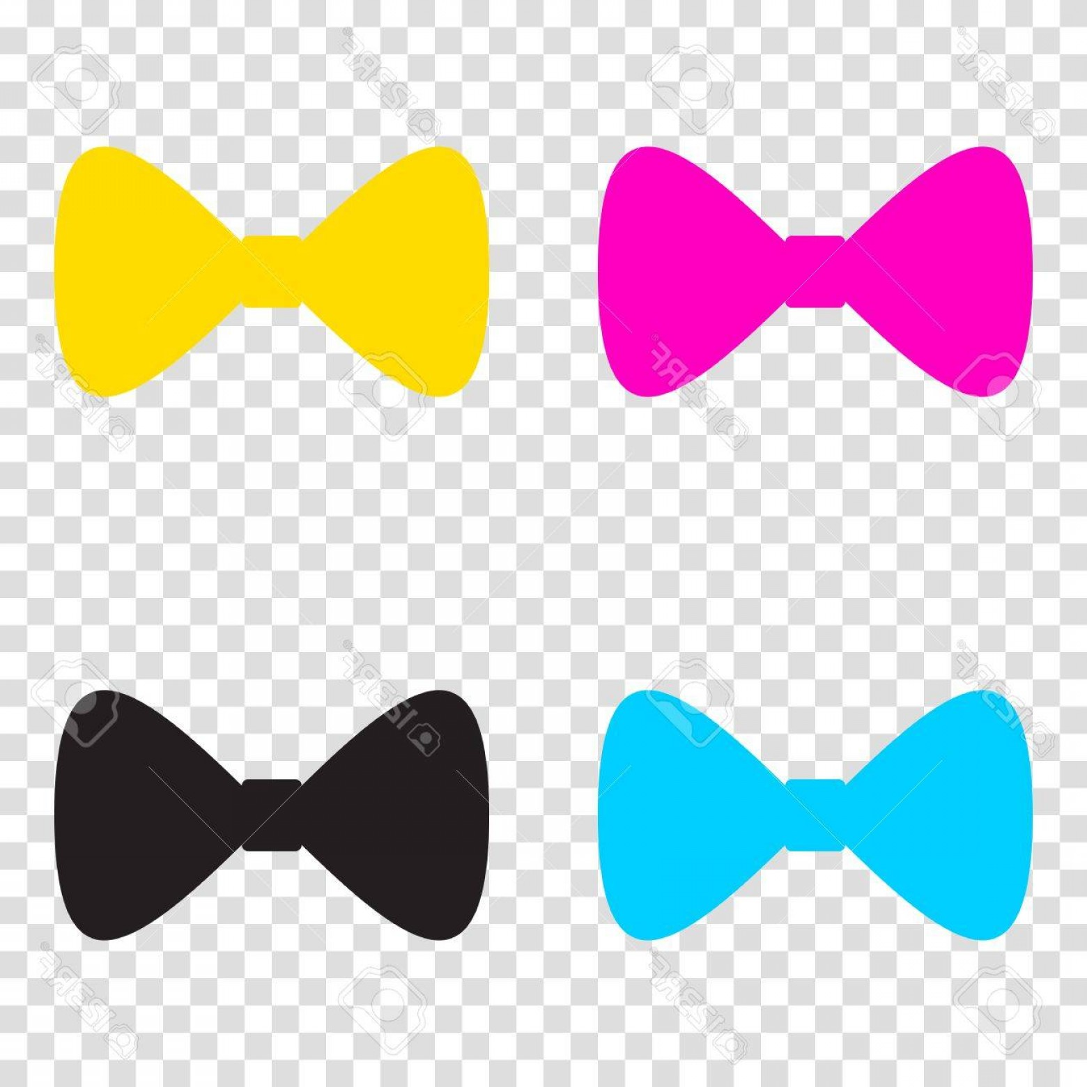 Bow Tie Vector Graphic Transparent: Photostock Vector Bow Tie Icon Cmyk Icons On Transparent Background Cyan Magenta Yellow Key Black