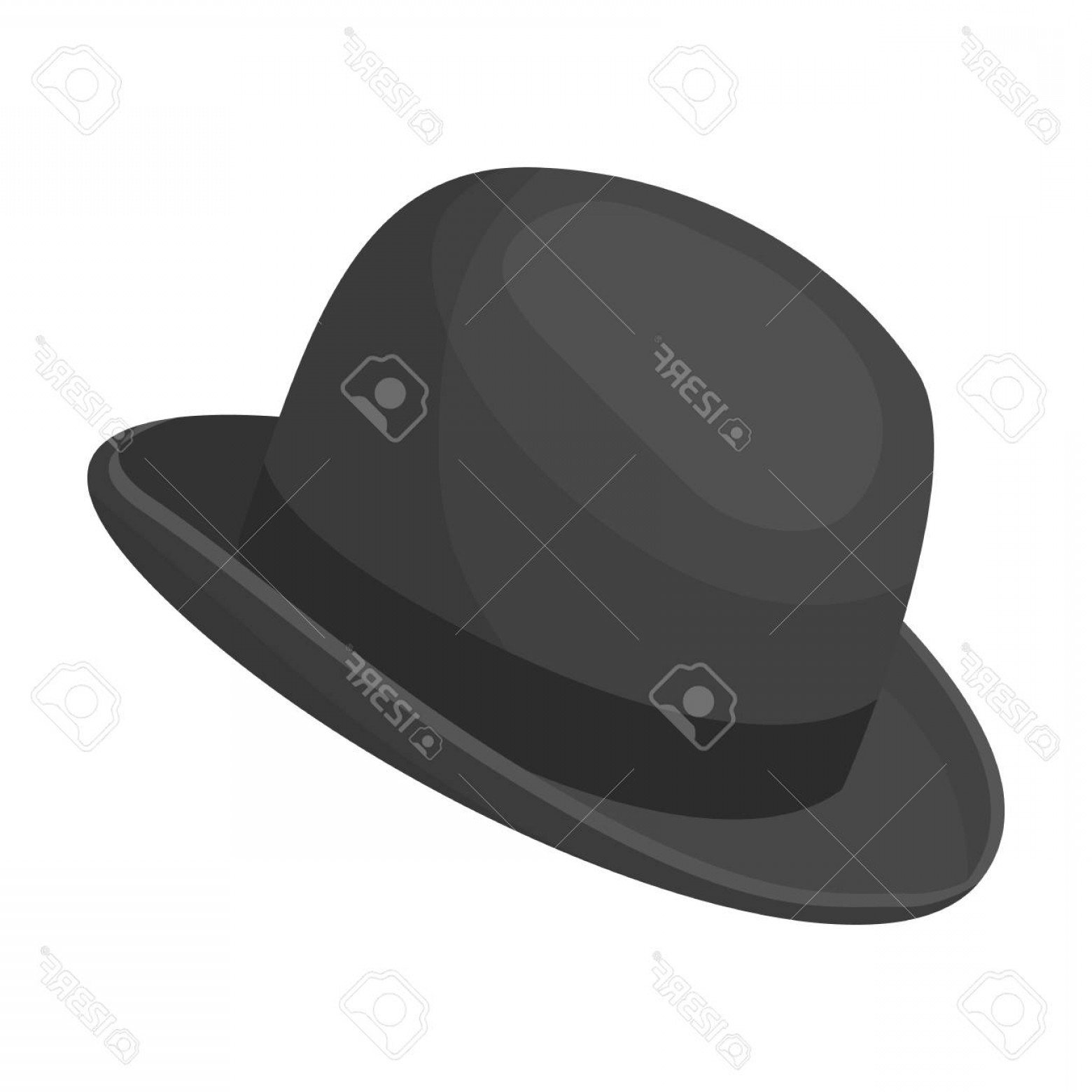 Bowler Hat Vector: Photostock Vector Bowler Hat Icon In Monochrome Style Isolated On White Background Hipster Style Symbol Stock Vector I