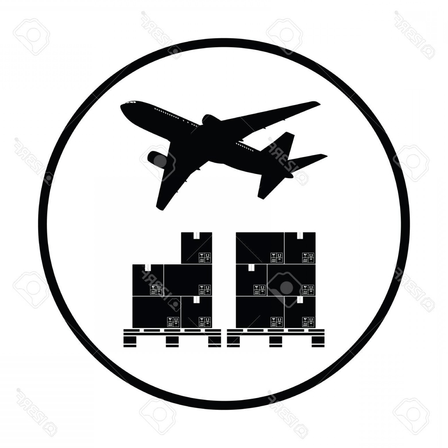 Vector Black Pallet: Photostock Vector Boxes On Pallet Under Airplane Thin Circle Design Vector Illustration