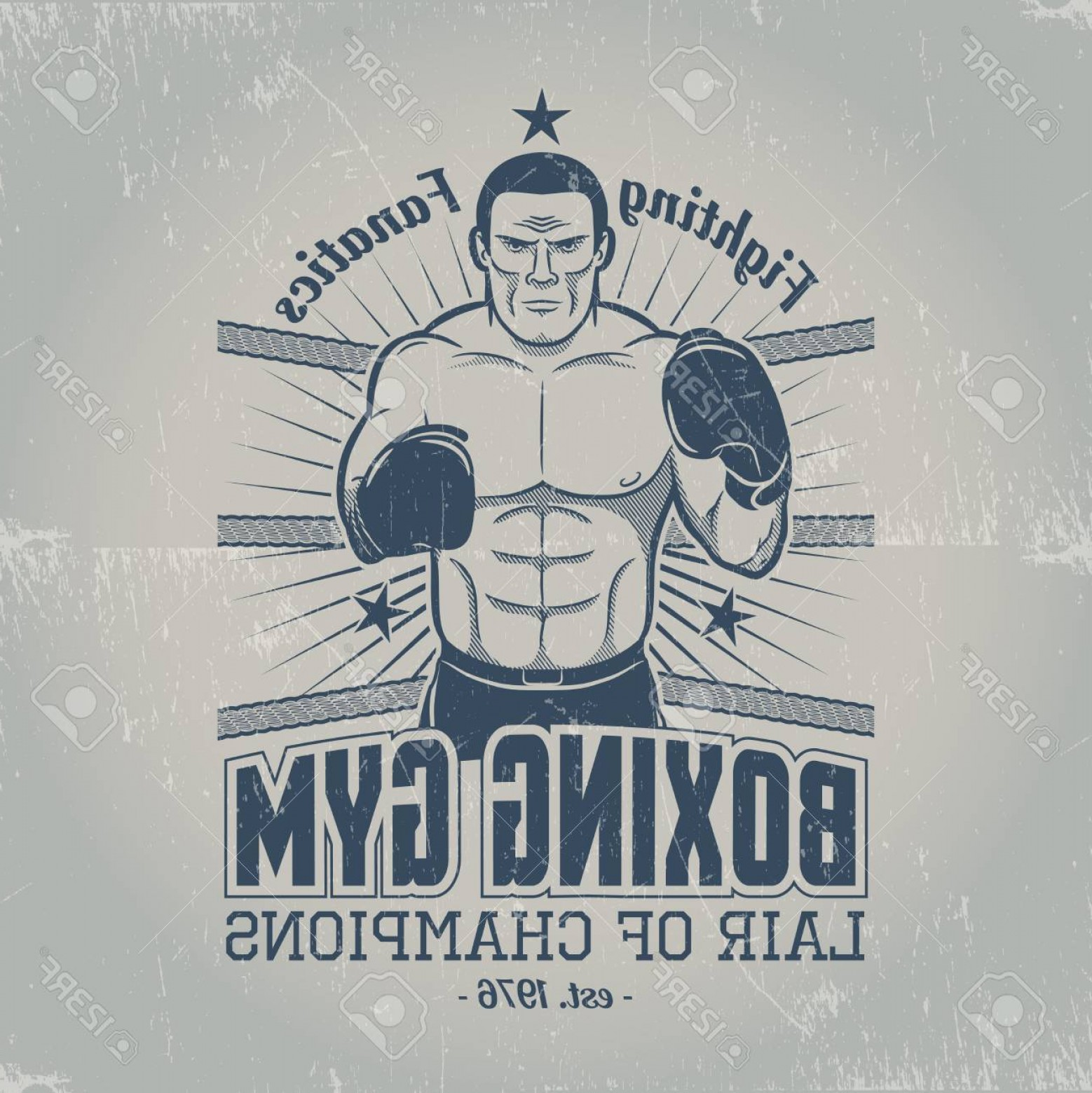 Champions Gym Vector: Photostock Vector Boxing Gym In Old School Style Emblem With A Boxer In The Ring In Grungy Style Scratches Are Grouped