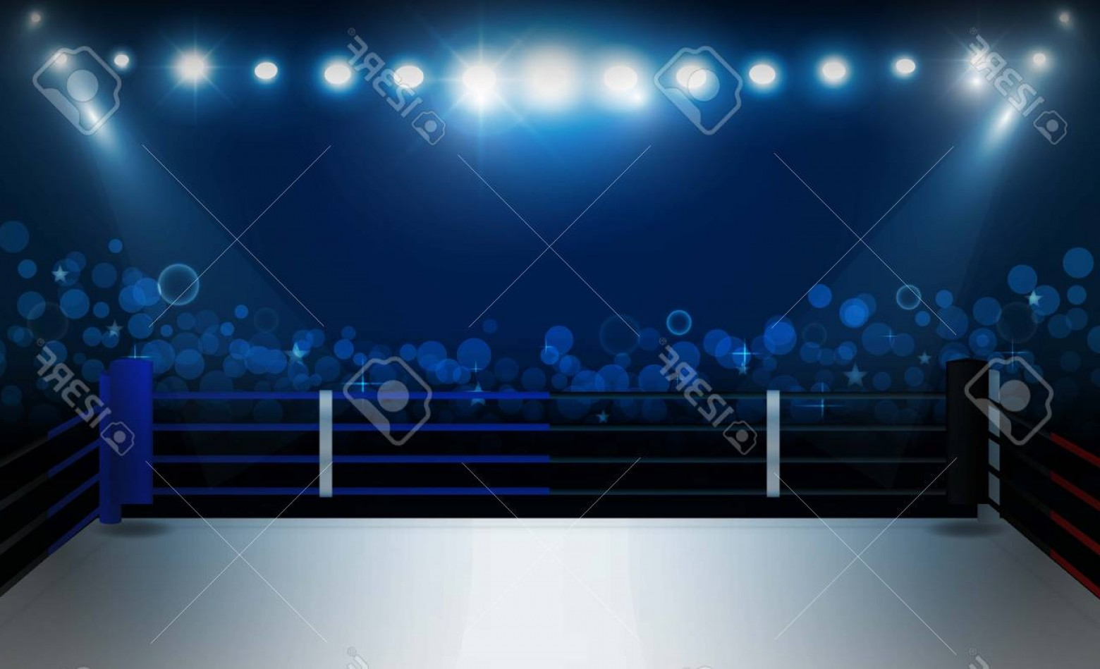 Vector Wrestling Audience: Photostock Vector Boxing Ring Arena And Floodlights Vector Design