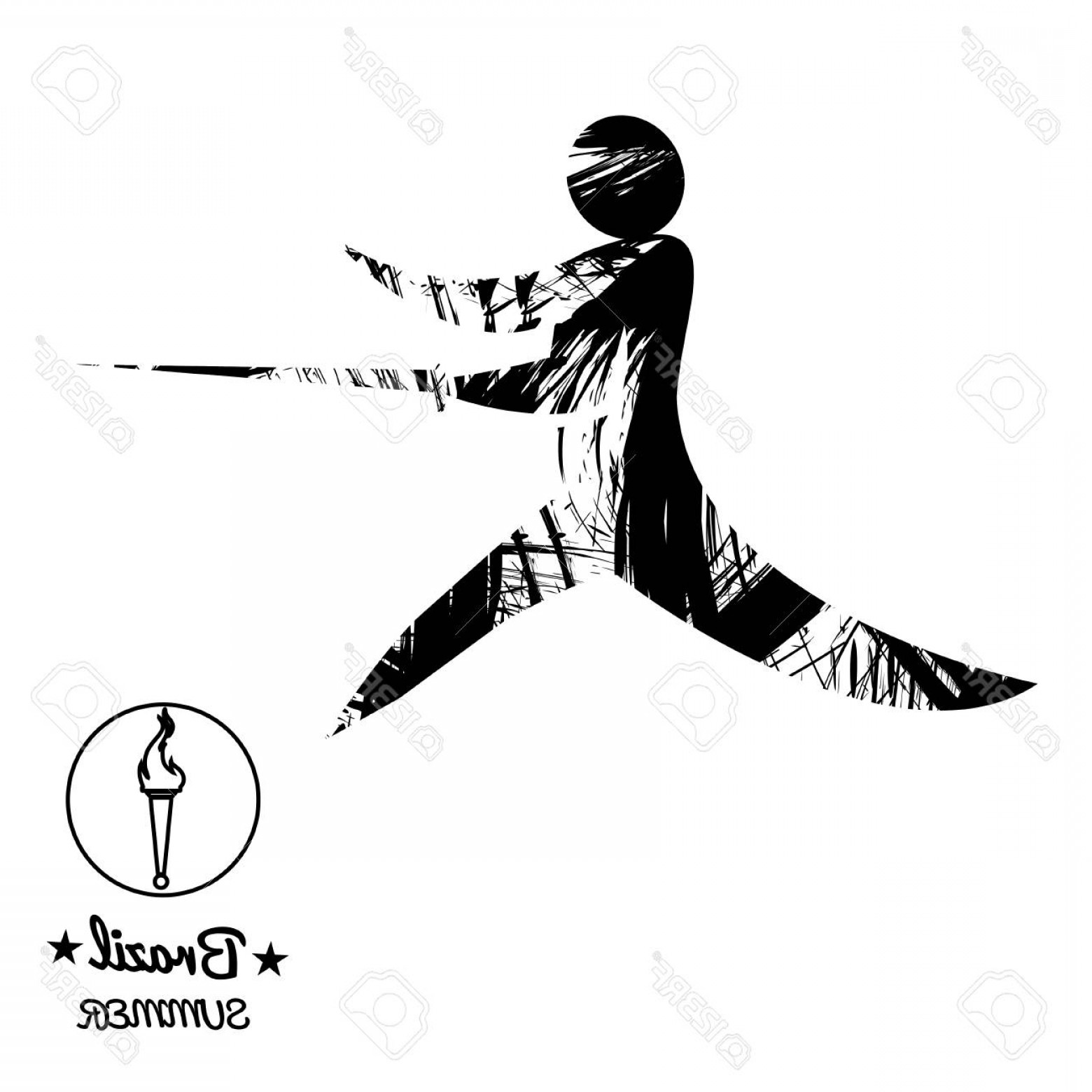 Abstract Football Vector Outline: Photostock Vector Brazil Summer Sport Card With An Abstract Fencer In Black Outlines Digital Vector Image