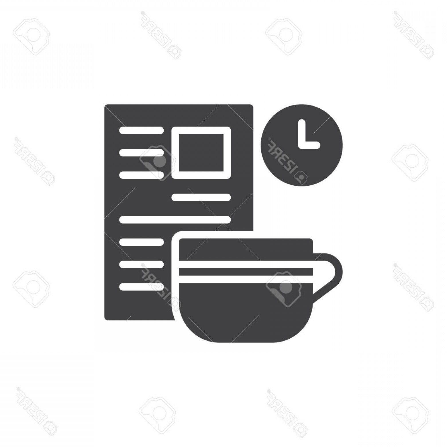 Vector Breakfast Logos: Photostock Vector Breakfast With Newspaper Icon Vector Filled Flat Sign Solid Pictogram Isolated On White Symbol Logo