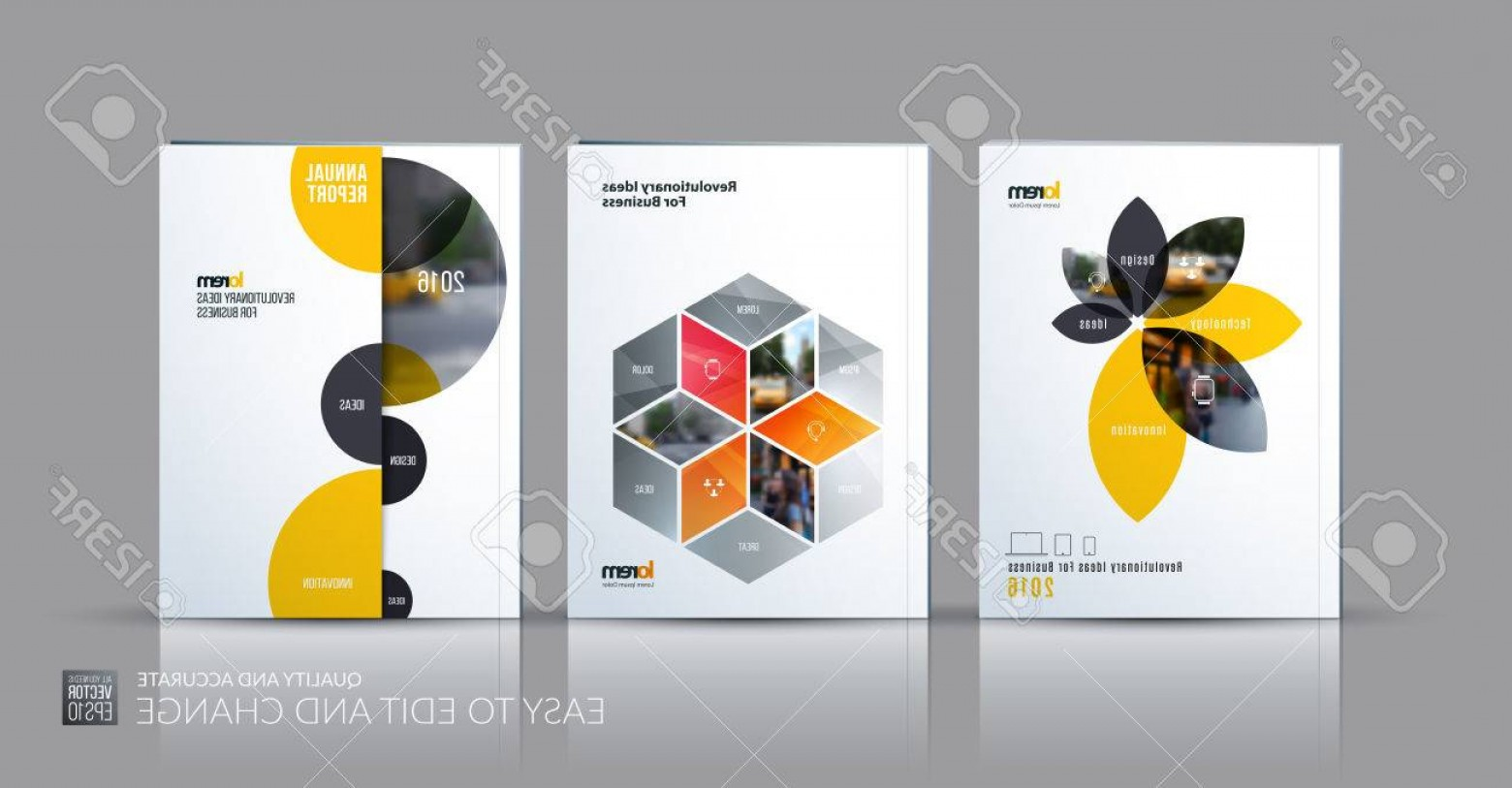 Vector Brochure Cover Designs: Photostock Vector Brochure Template Layout Collection Cover Design Annual Report Magazine Flyer In A With Yellow Grey