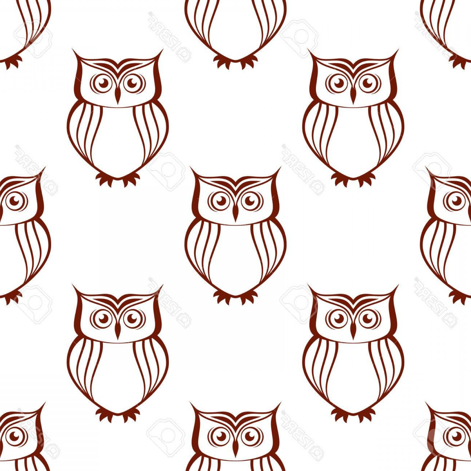 Owl Silhouette Vector Art: Photostock Vector Brown And White Owl Silhouette Seamless Pattern With Watchful Birds