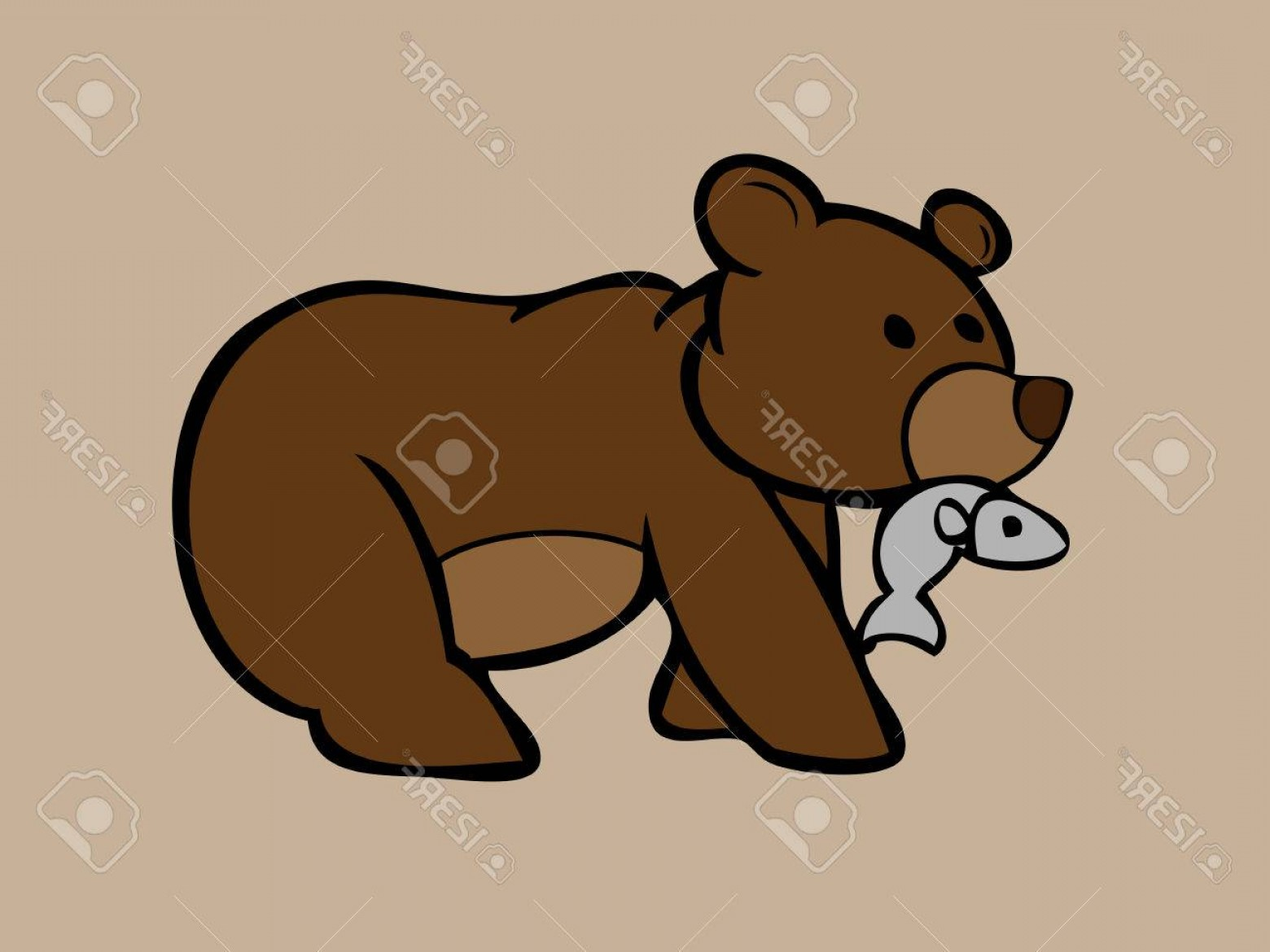 Vector Art Bear With Salmon: Photostock Vector Brown Bear Catching Fish In Mouth