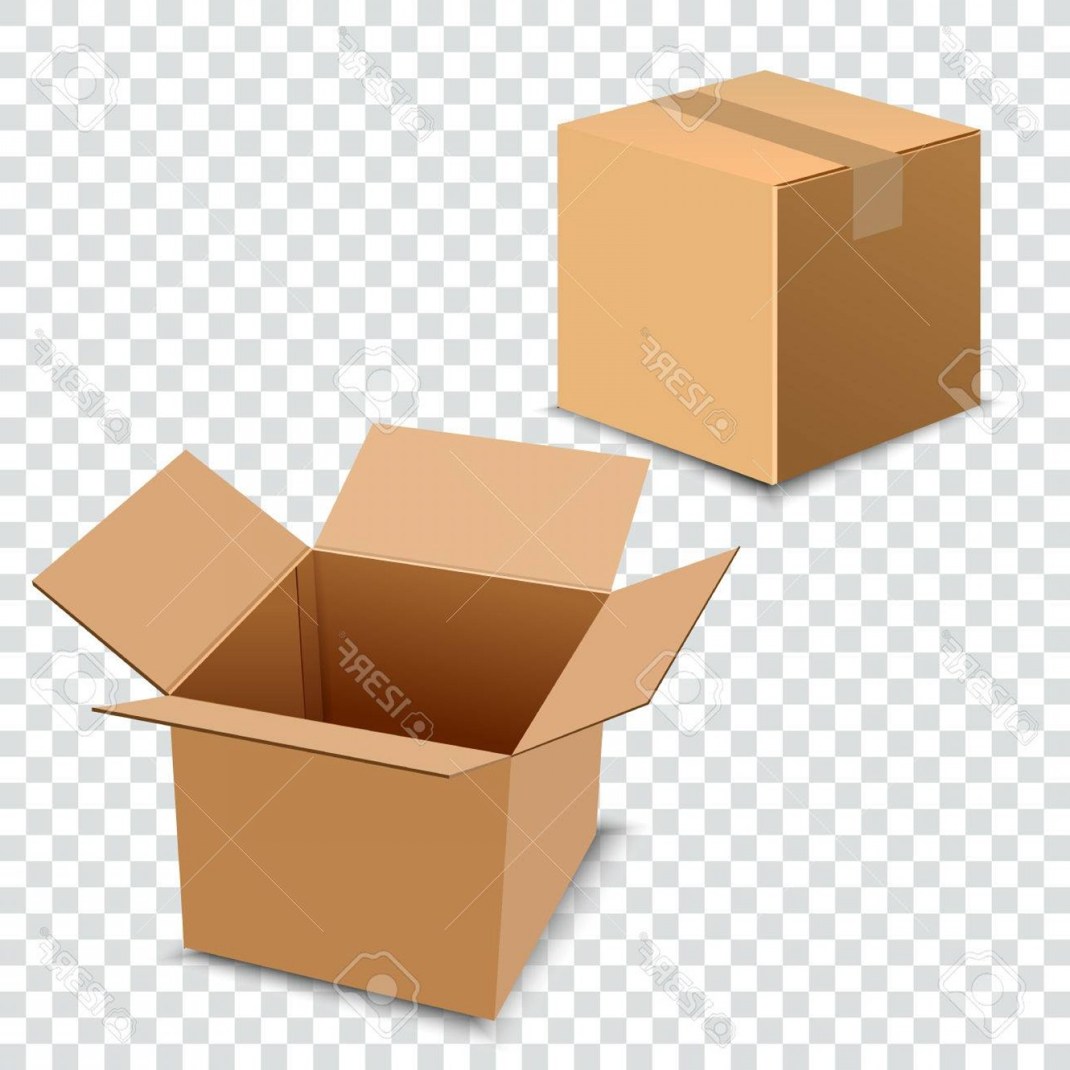 Transparent Brown Vector Background: Photostock Vector Brown Carton Delivery Packaging Box Isolated On Transparent Background Vector Illustration Opened Bo