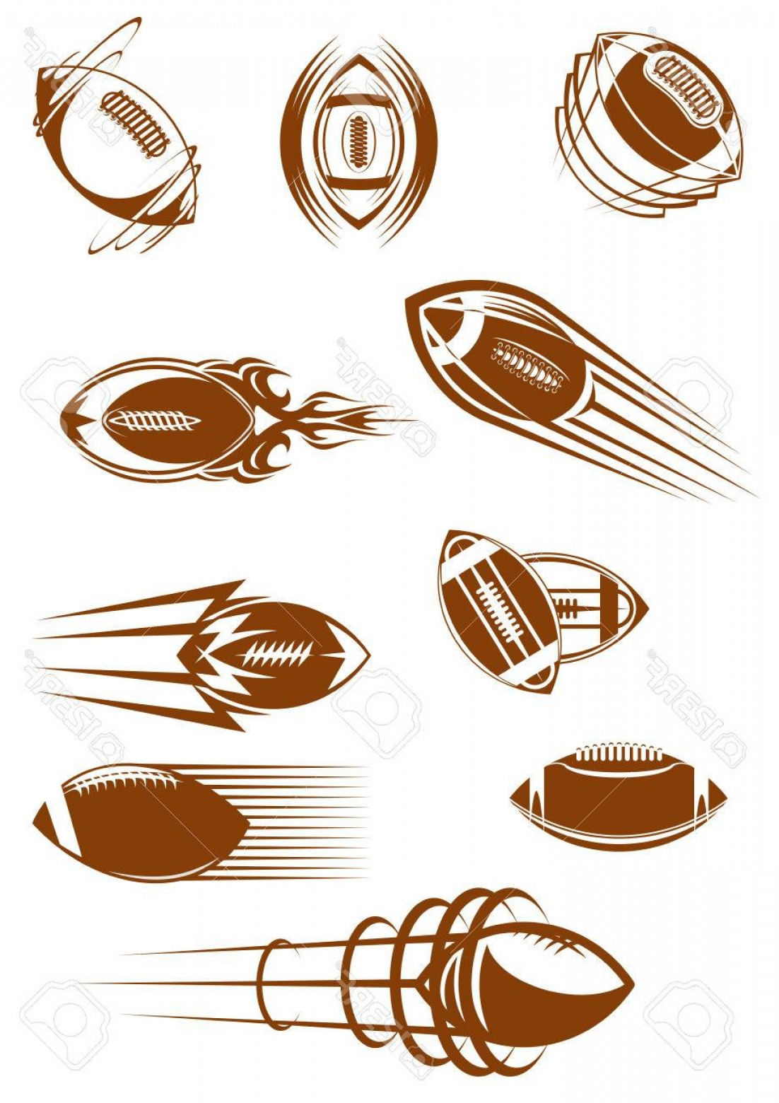 Vector Football Laces And Lines: Photostock Vector Brown Icons Of American Football Or Rugby Leather Balls Whirling And Flying Through The Air With Mot