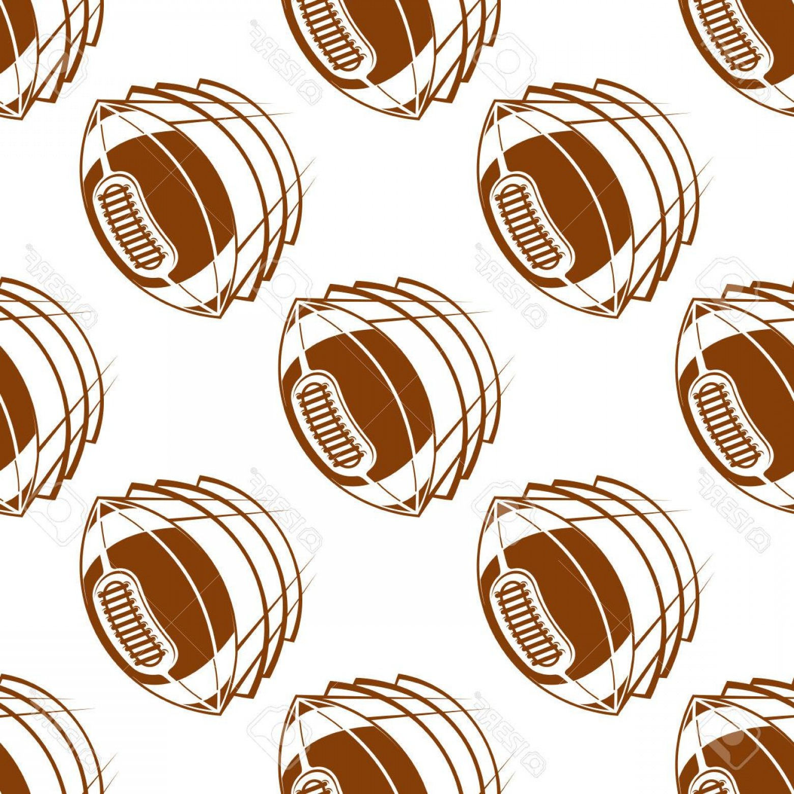 Vector Football Laces And Lines: Photostock Vector Brown Rugby Balls Seamless Pattern Showing Flying American Football Balls With Traditional Lacing On