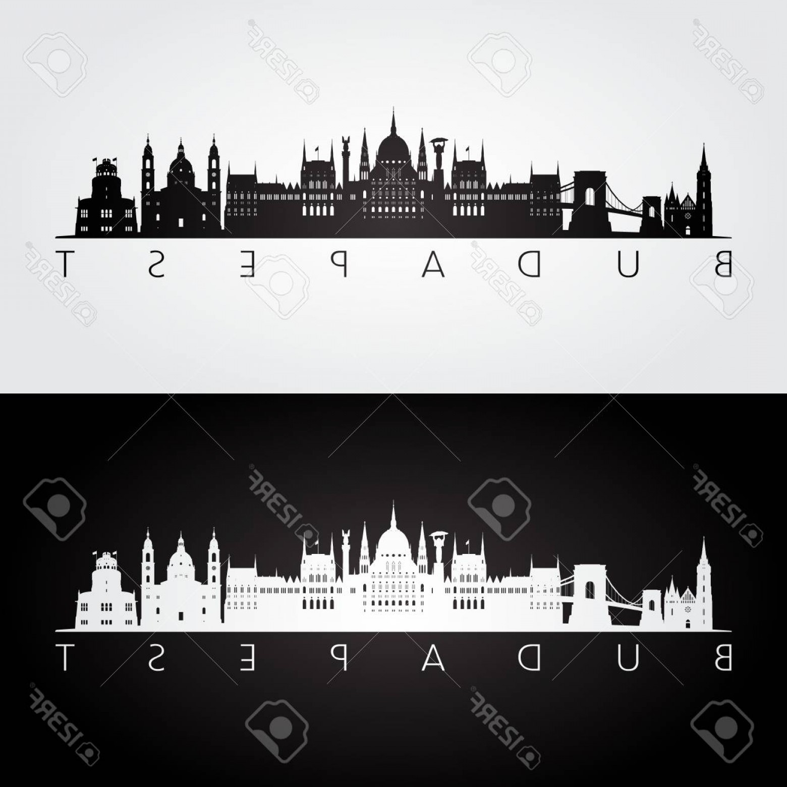 Wicked Boston Skyline Silhouette Vector: Photostock Vector Budapest Skyline And Landmarks Silhouette Black And White Design Vector Illustration