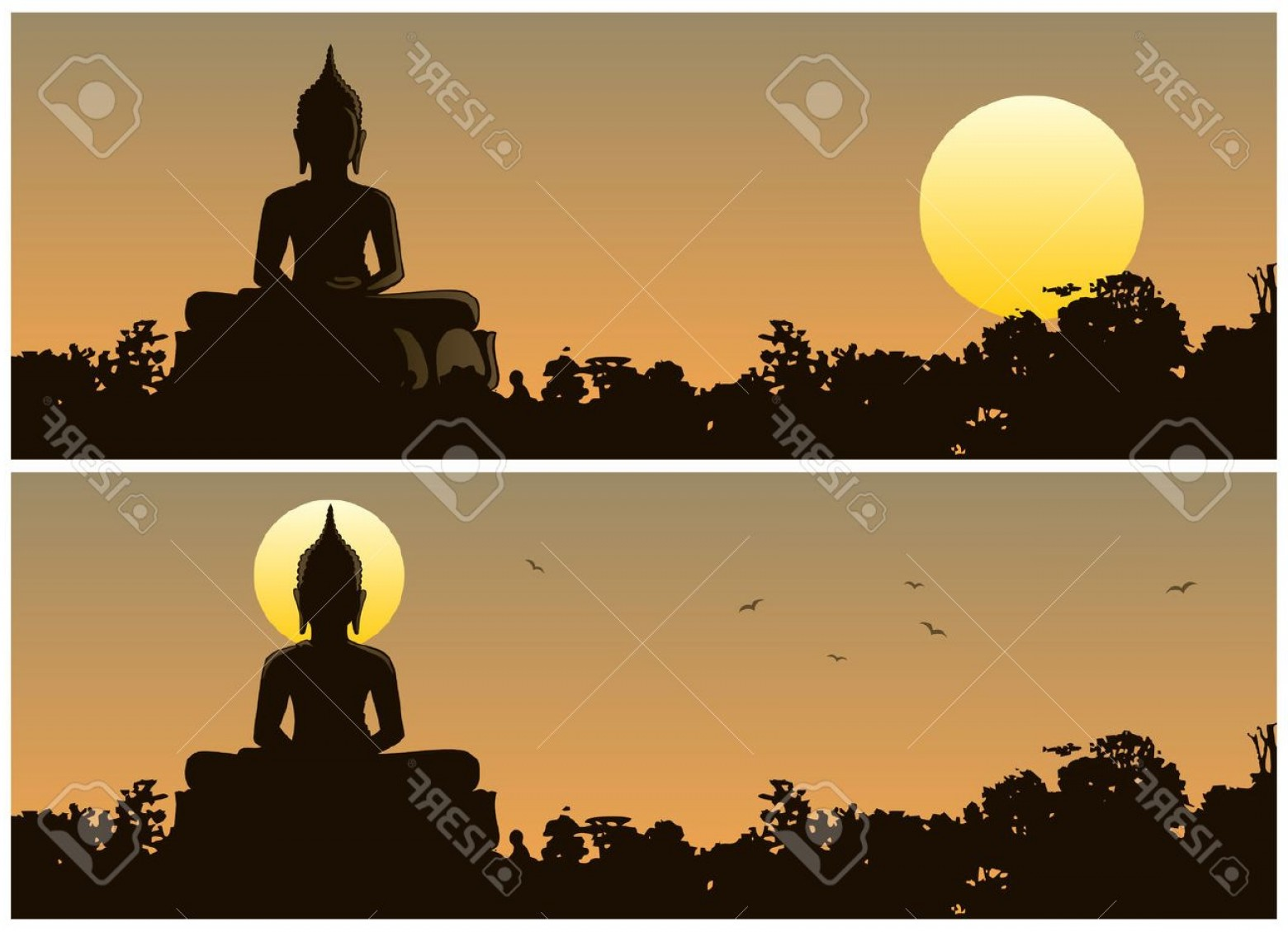 Ancient Jungle Statue Vector Images: Photostock Vector Buddha Statue In The Jungle At Sunset Different Versions No Transparency Used Basic Linear Gradien