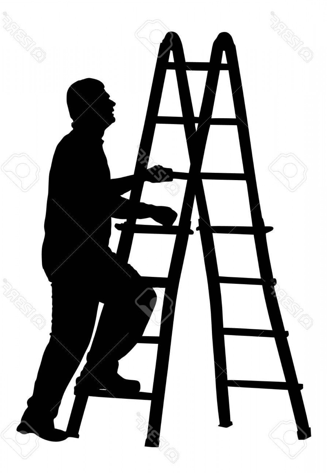 Ladder Silhouette Vector: Photostock Vector Builder Climb To Ladder Vector Silhouette Isolated On White Background Construction Worker With Ladd