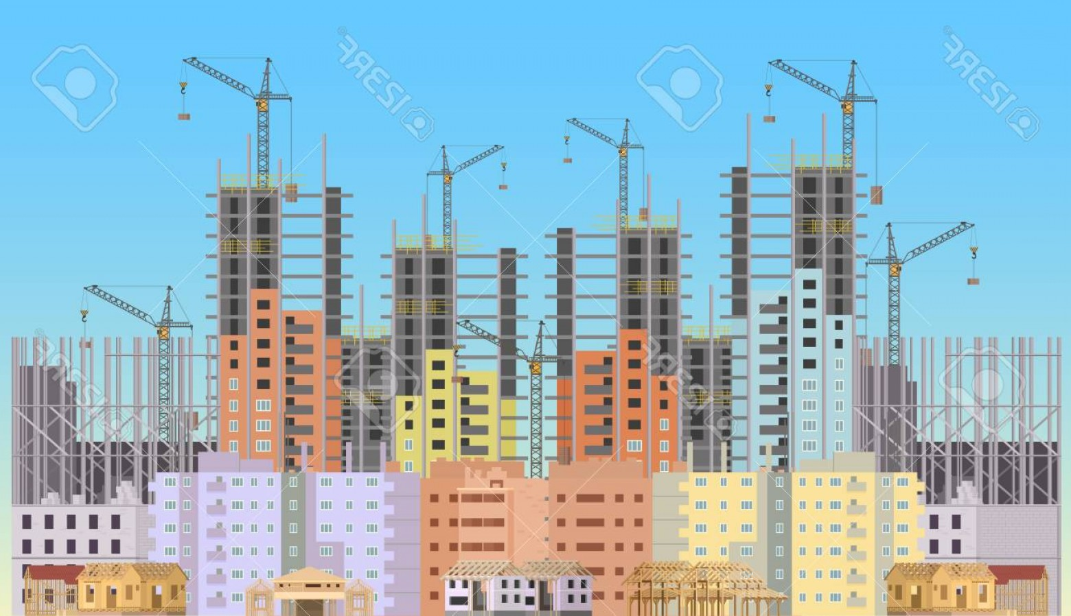 Vector Under Construction Template: Photostock Vector Building City Under Construction Website With Tower Cranes Constructions Infographics Template Desig