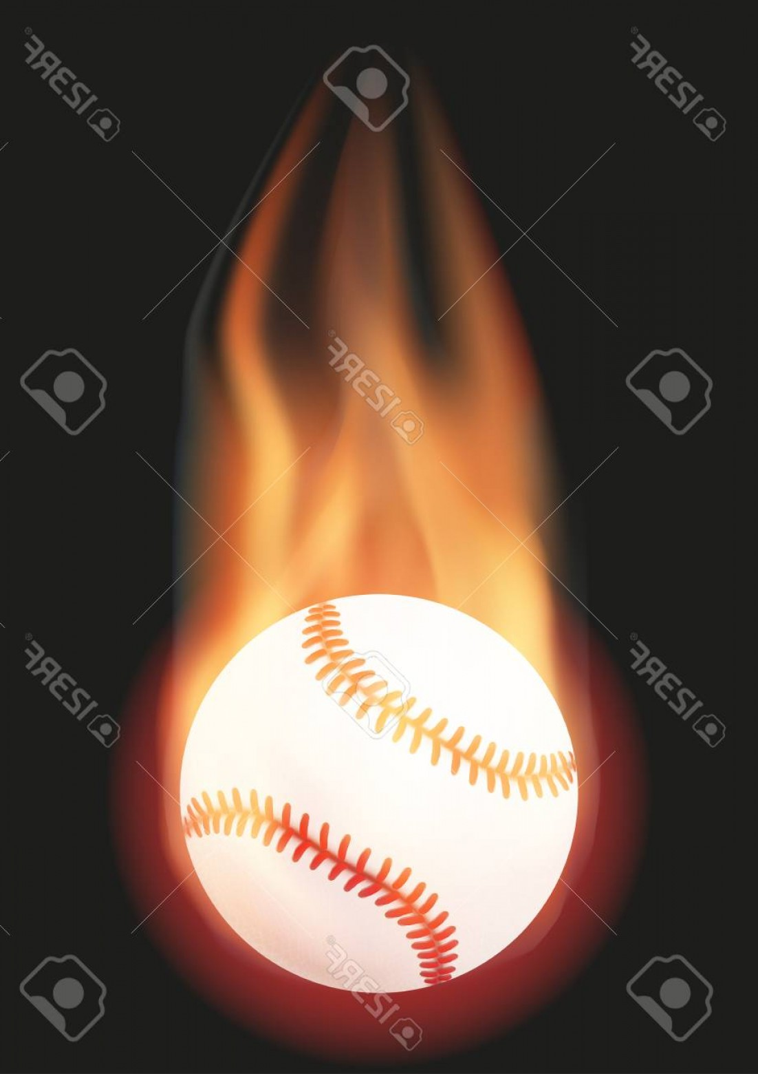 Baseball Tails Vector Clip Arts: Photostock Vector Burning Baseball Ball With A Tail Of Flame Illustration Isolated On Background